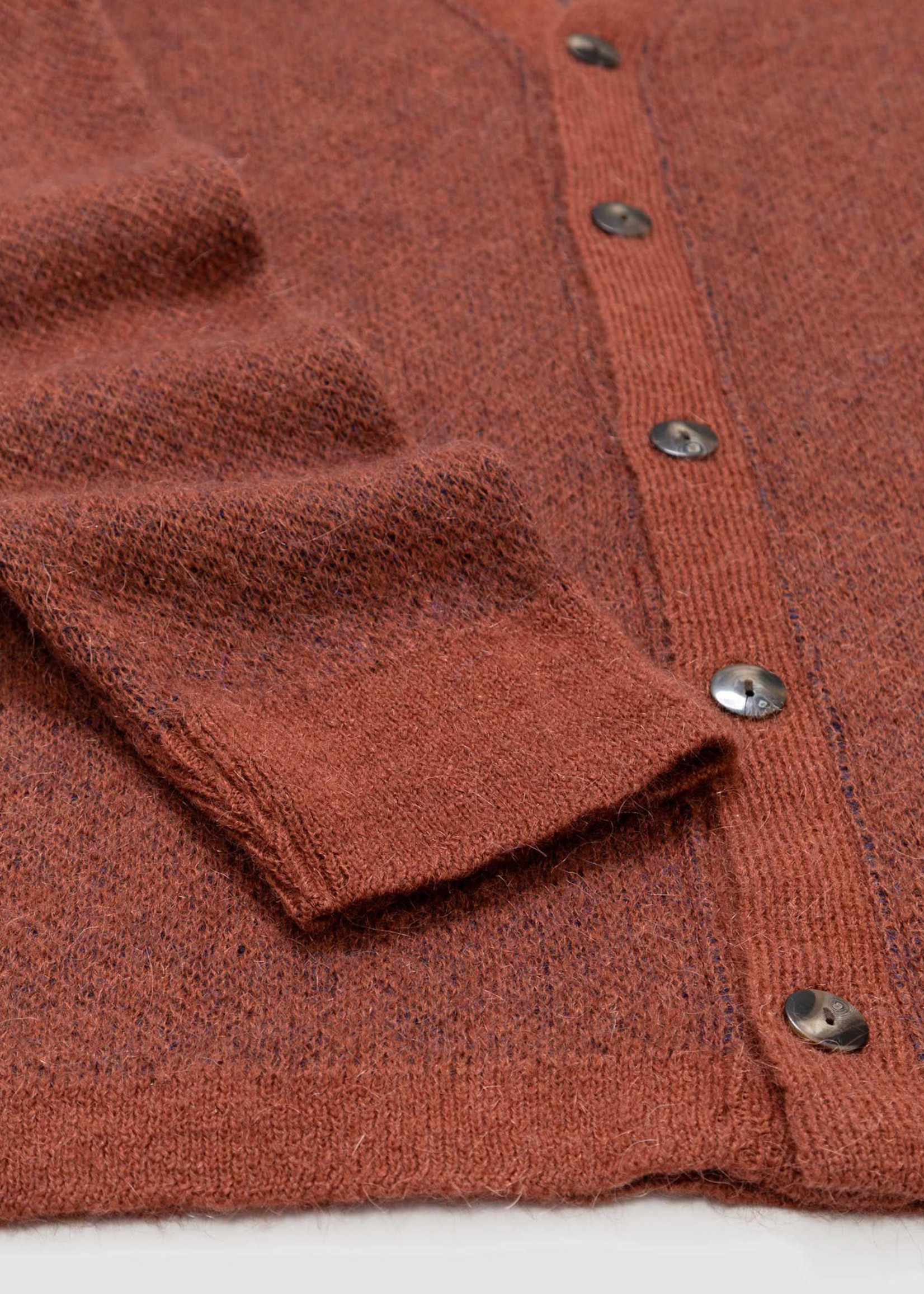 """GarbStore """"The English Difference"""" Cardigan Geo Pattern Rust Orange Mohair by Garbstore"""