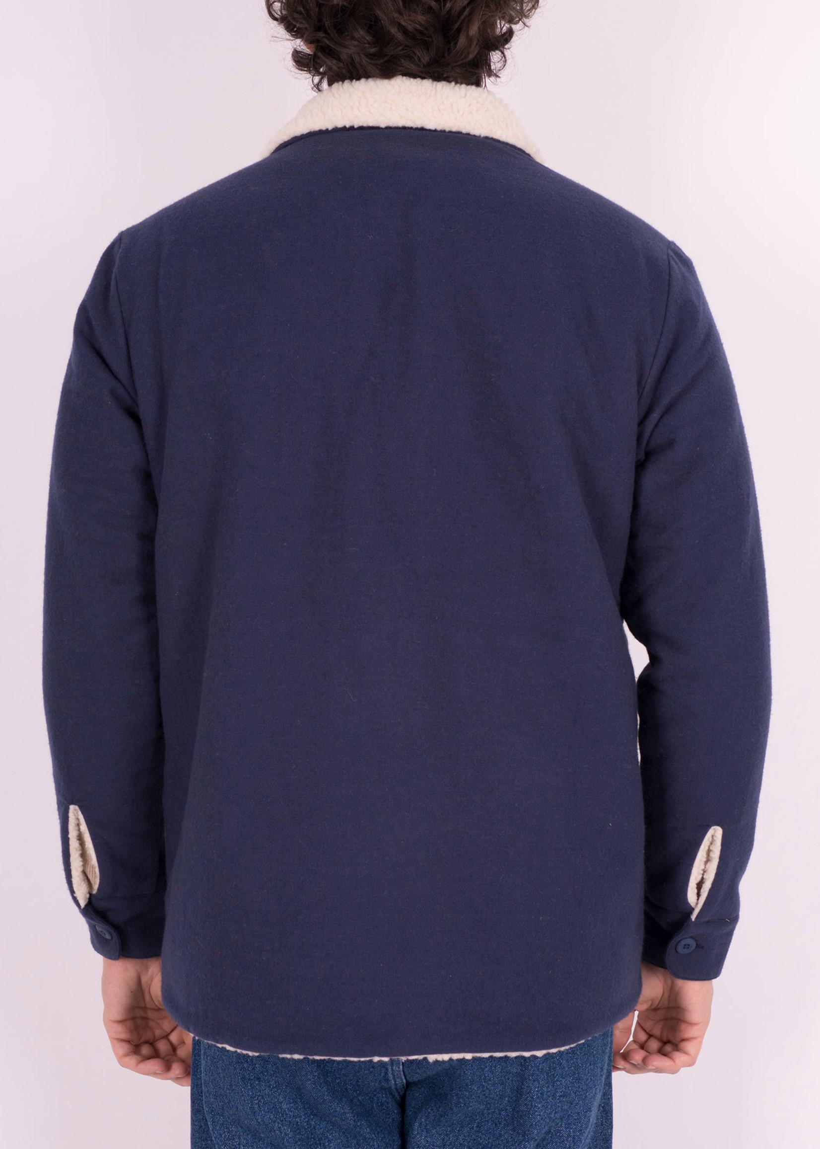 Portuguese Flannel Portuguese Flannel Sherpa Jacket Navy Reversible