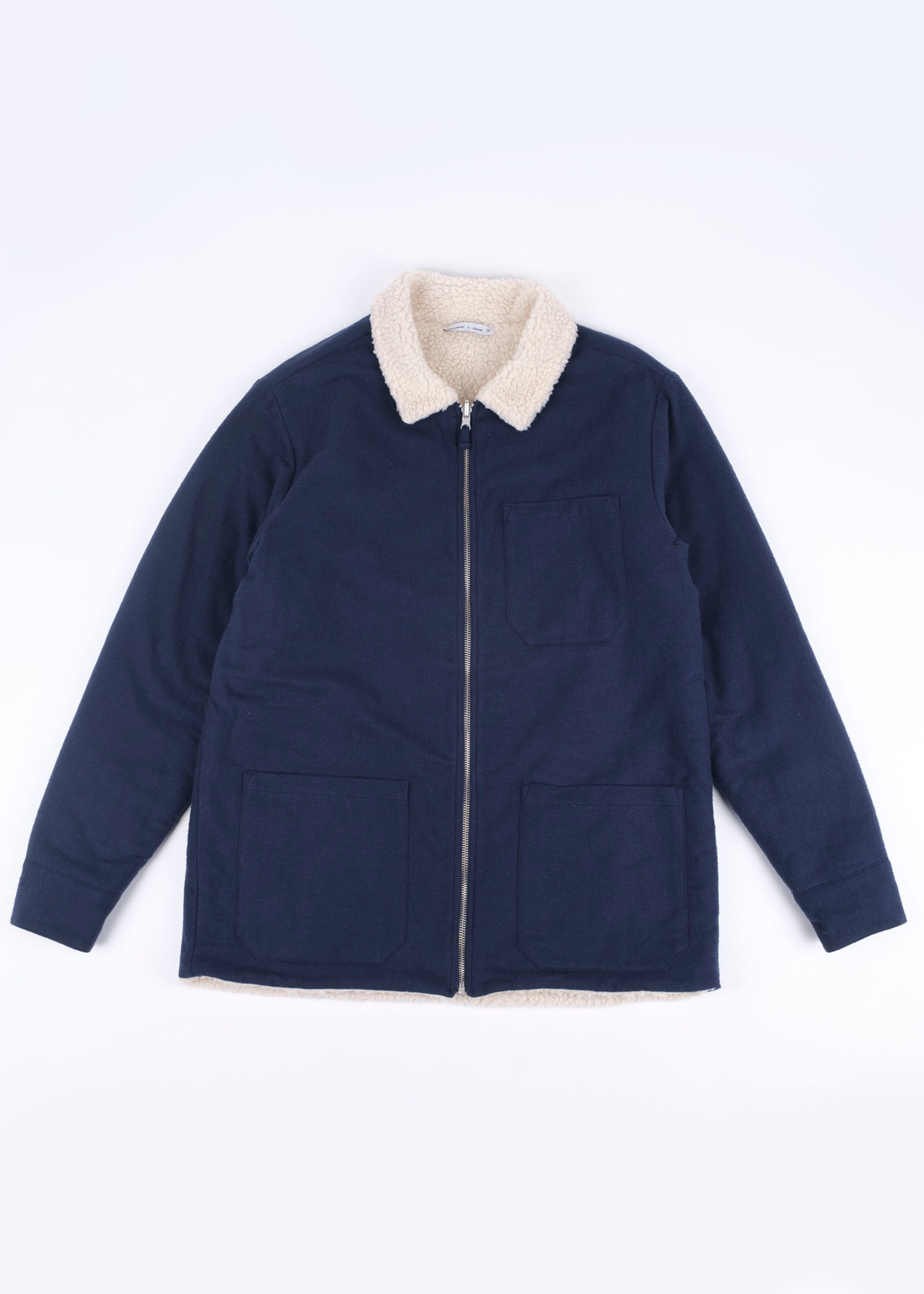 Portuguese Flannel Sherpa Jacket Navy Reversible by Portuguese Flannel
