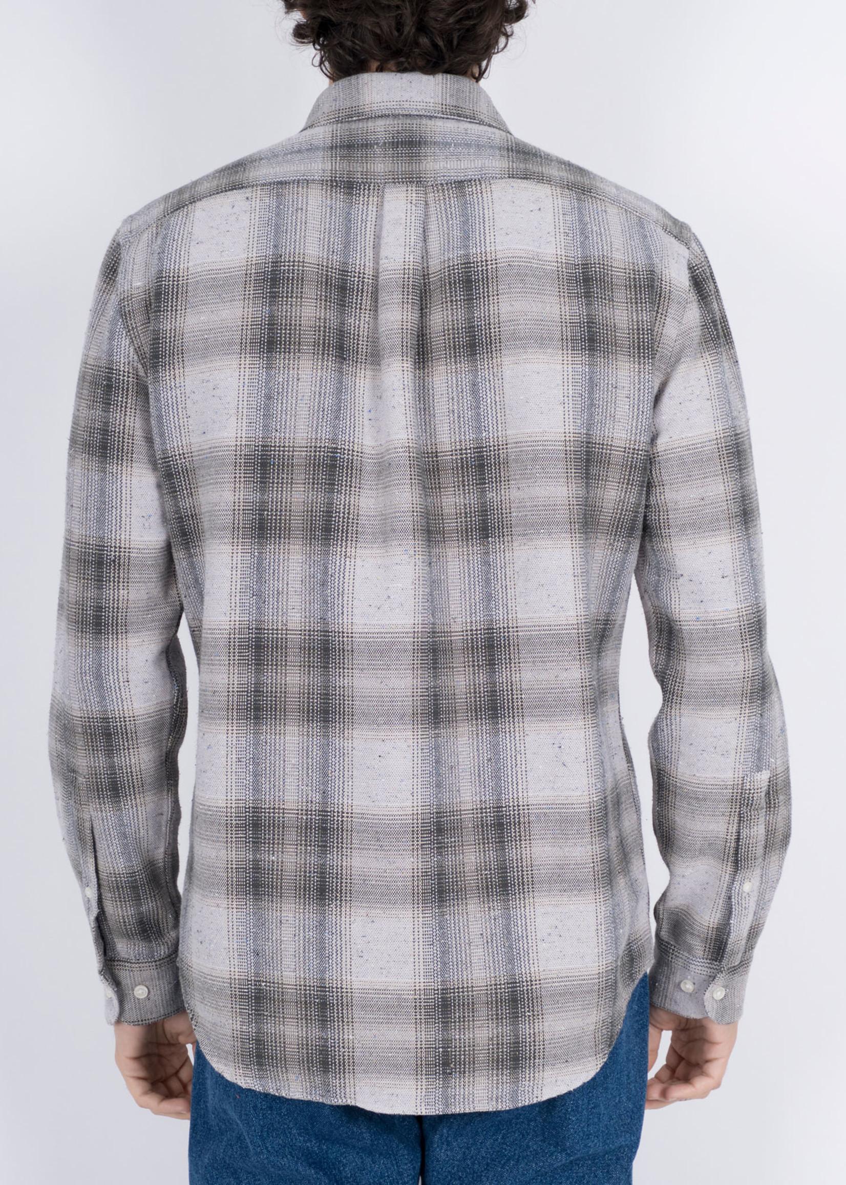 Portuguese Flannel Portuguese Flannel Rude Green Check Flecked Cotton Sport Shirt