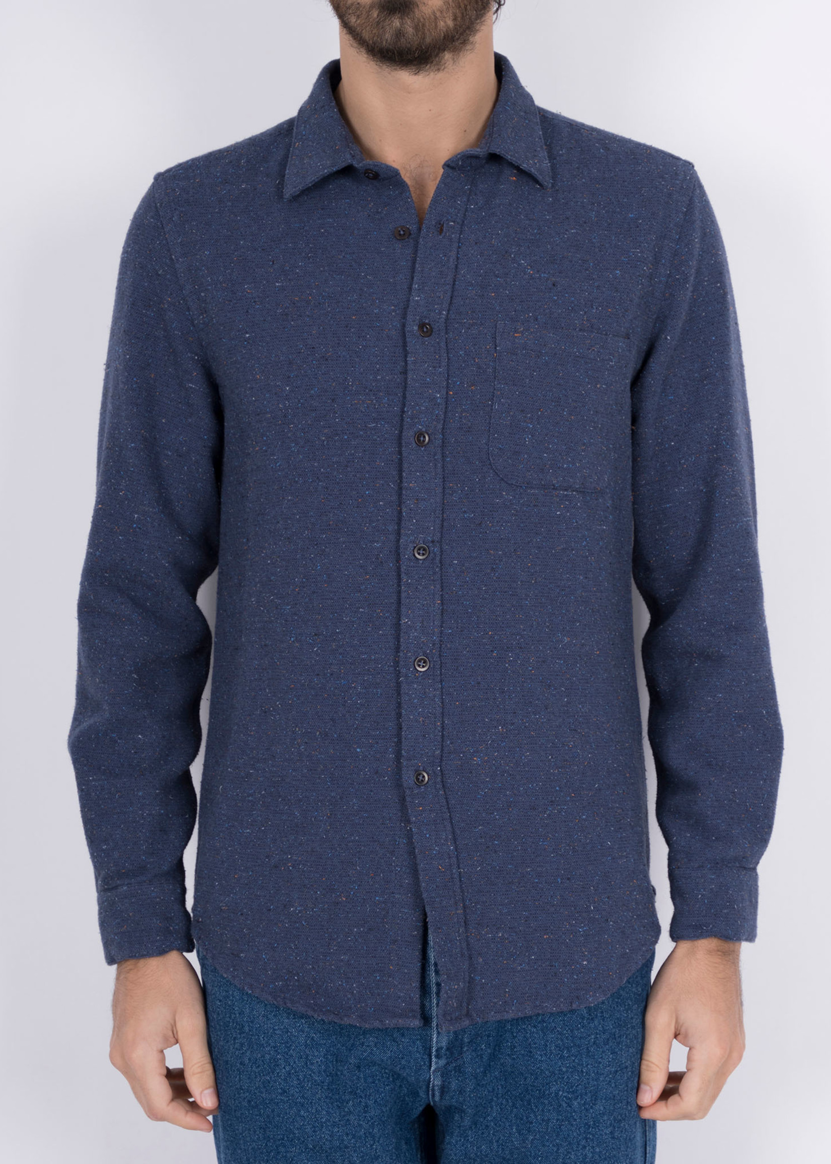 Portuguese Flannel Rude Navy Flecked Cotton Sport Shirt by Portuguese Flannel
