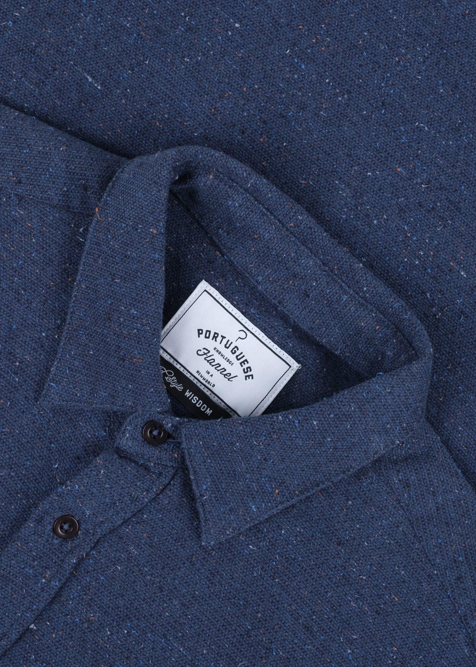Portuguese Flannel Portuguese Flannel Rude Navy Flecked Cotton Sport Shirt