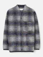 Universal Works Austin Cardigan Navy Plaid Wool Fleece by Universal Works
