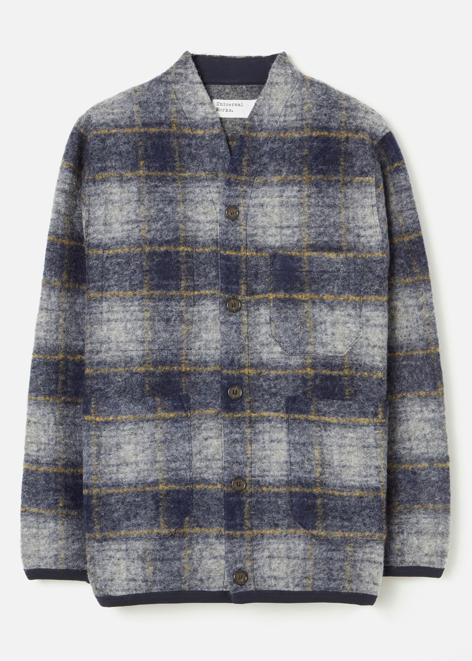 Universal Works Austin Cardigan Navy Plaid Wool Fleece by Universal Works