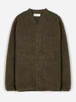 Universal Works Cardigan Olive Wool Fleece by Universal Works
