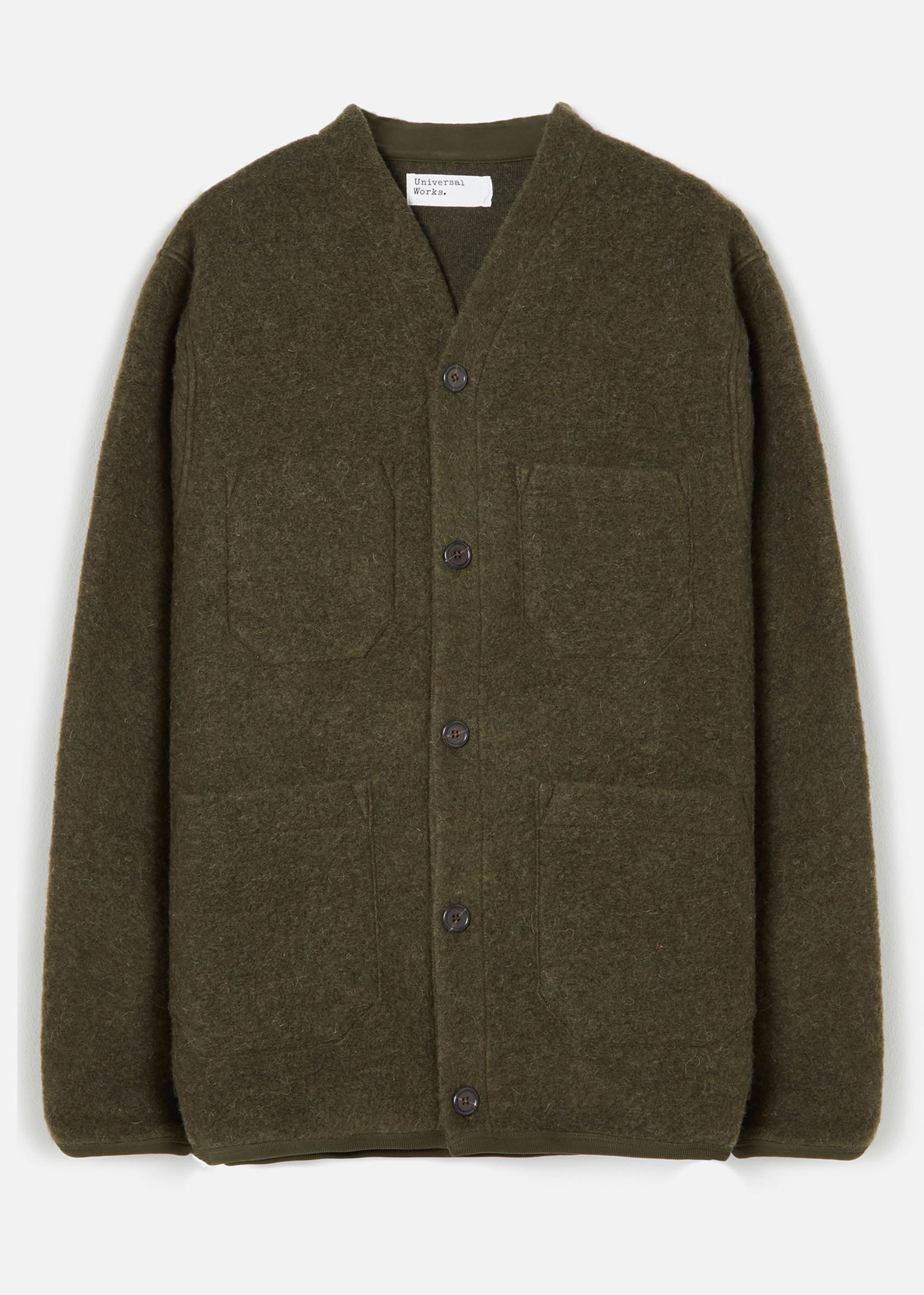 Universal Works Cardigan Olive Wool Fleece by Universal Works