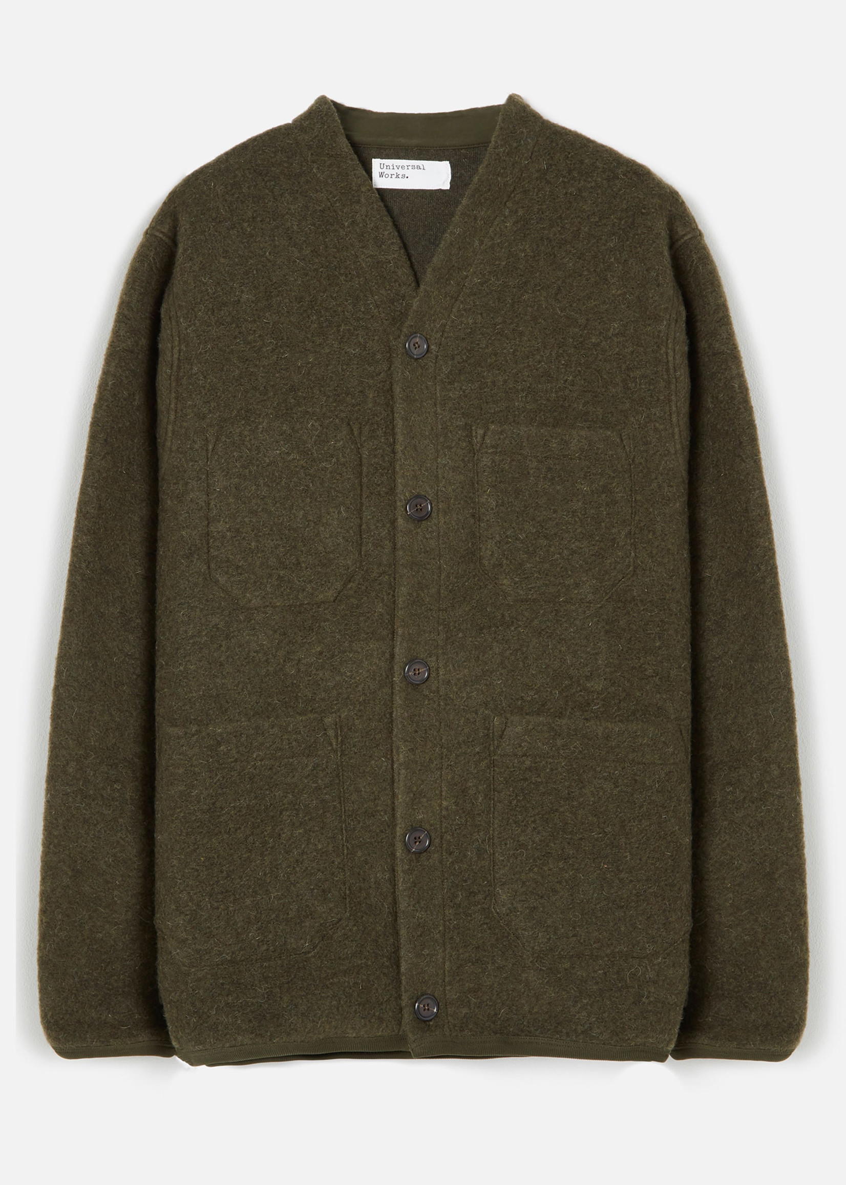 Universal Works Universal Works Cardigan Olive Wool Fleece