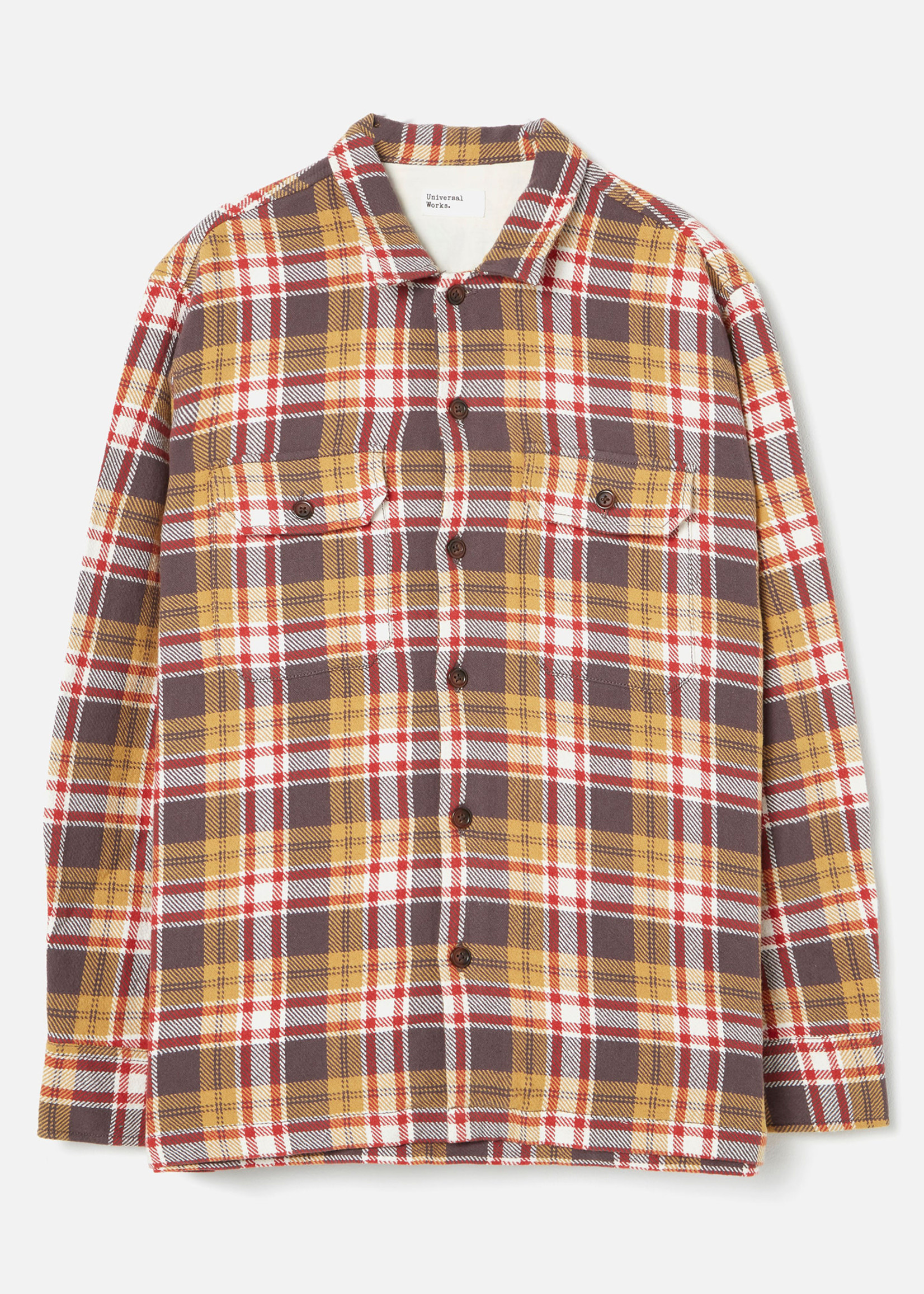 Universal Works L/S Utility Shirt Sand/Red Plaid Cotton by Universal Works