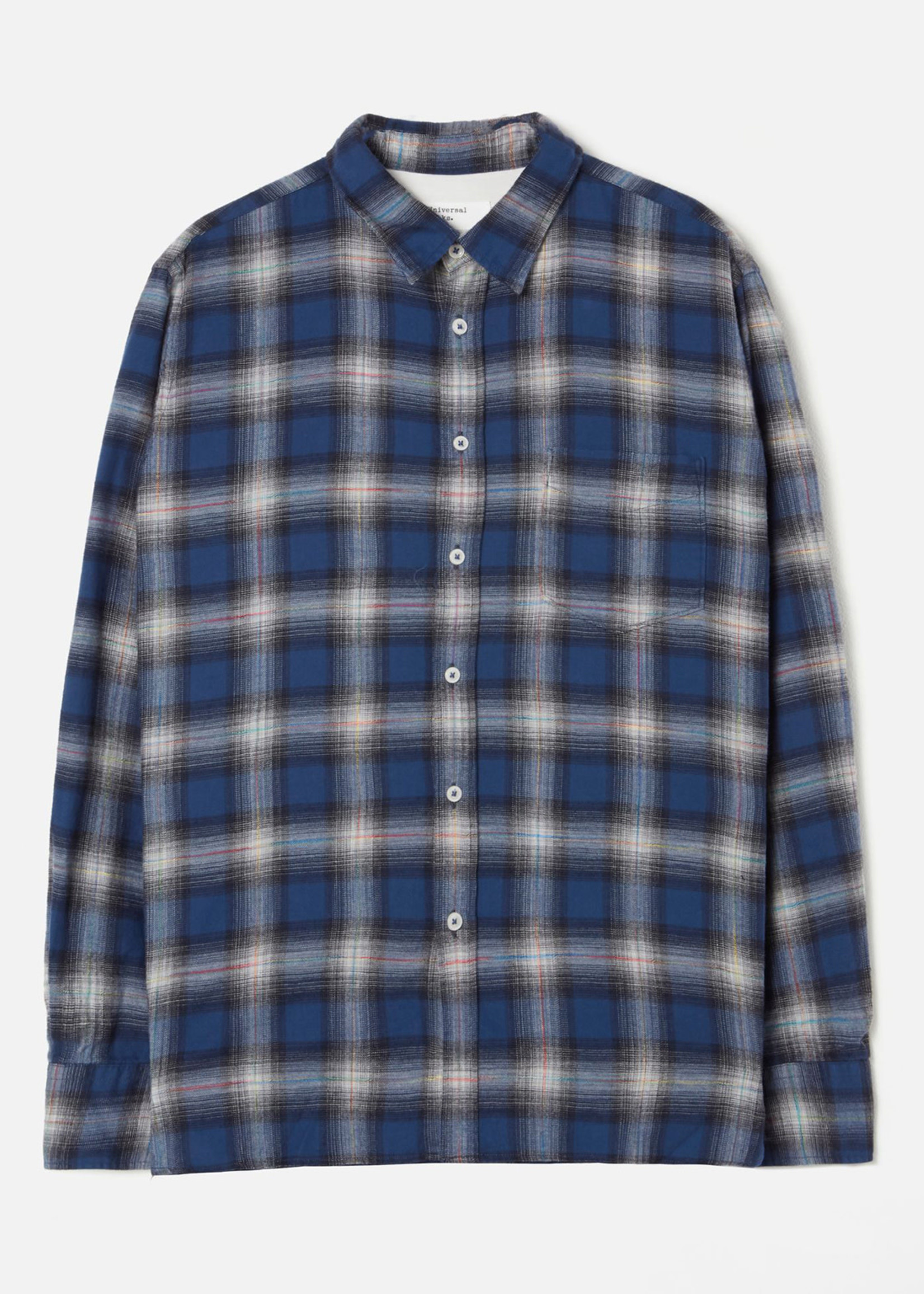 Universal Works New Standard Shirt Blue Plaid Cotton by  Universal Works