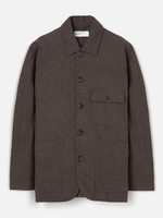 Universal Works Patched Mill Bakers Jacket Chocolate Subalpino Cotton by Universal Works
