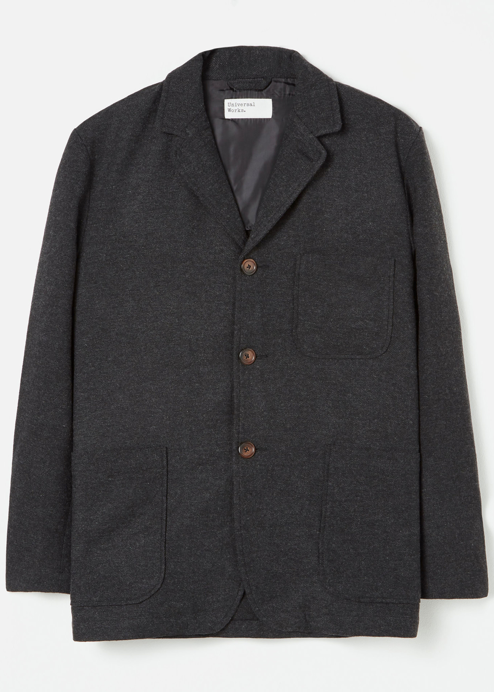 Universal Works Three Button Jacket Charcoal Wool/Poly by Universal Works