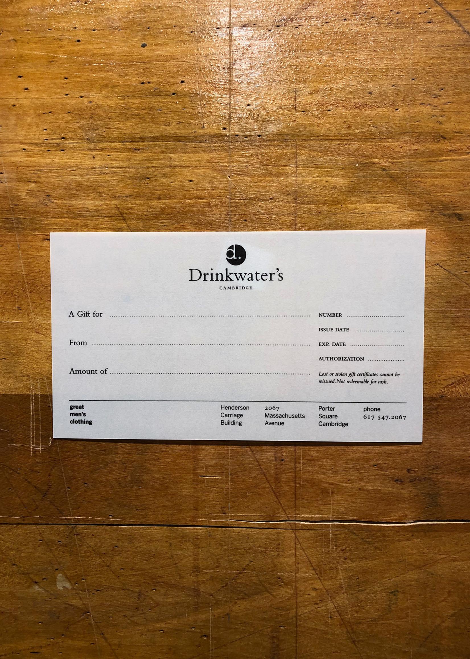 Drinkwater's Drinkwater's  Gift Certificate