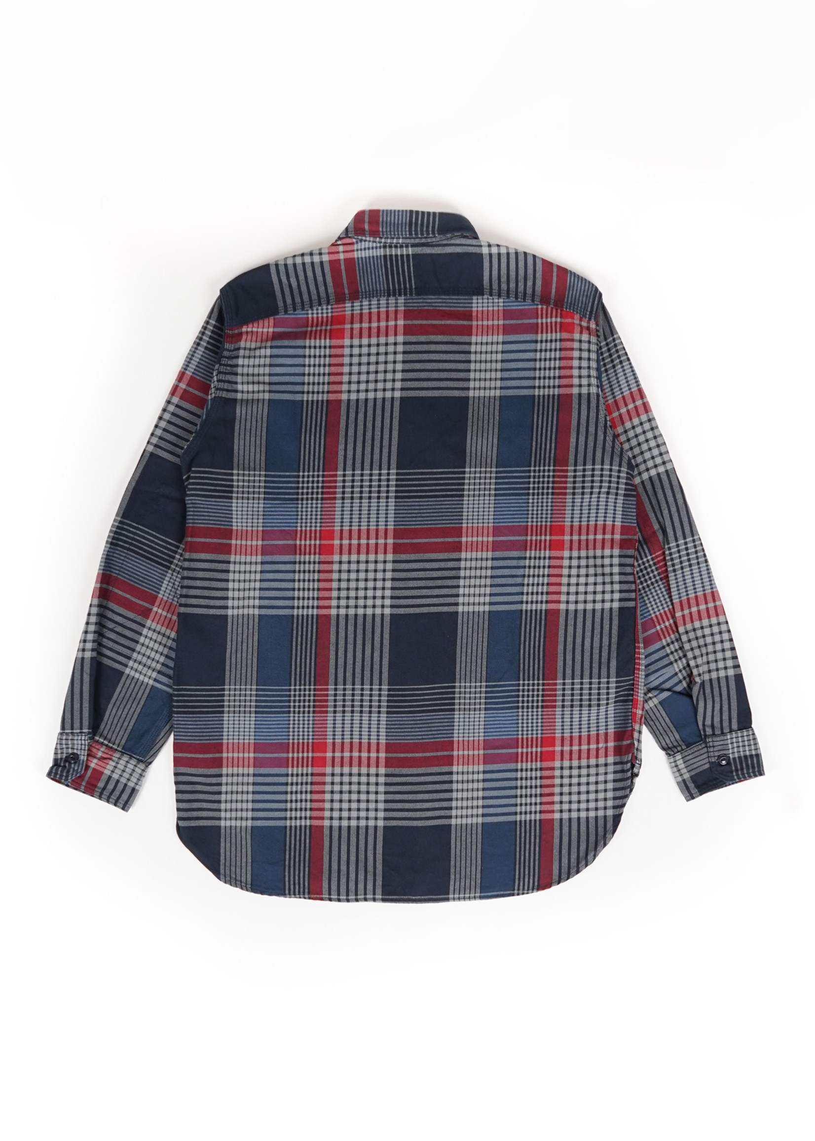 Engineered Garments  Engineered Garments Work Shirt Navy/Grey/Red Cotton Twill