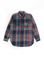 Engineered Garments Work Shirt Navy/Grey/Red Cotton Twill by Engineered Garments