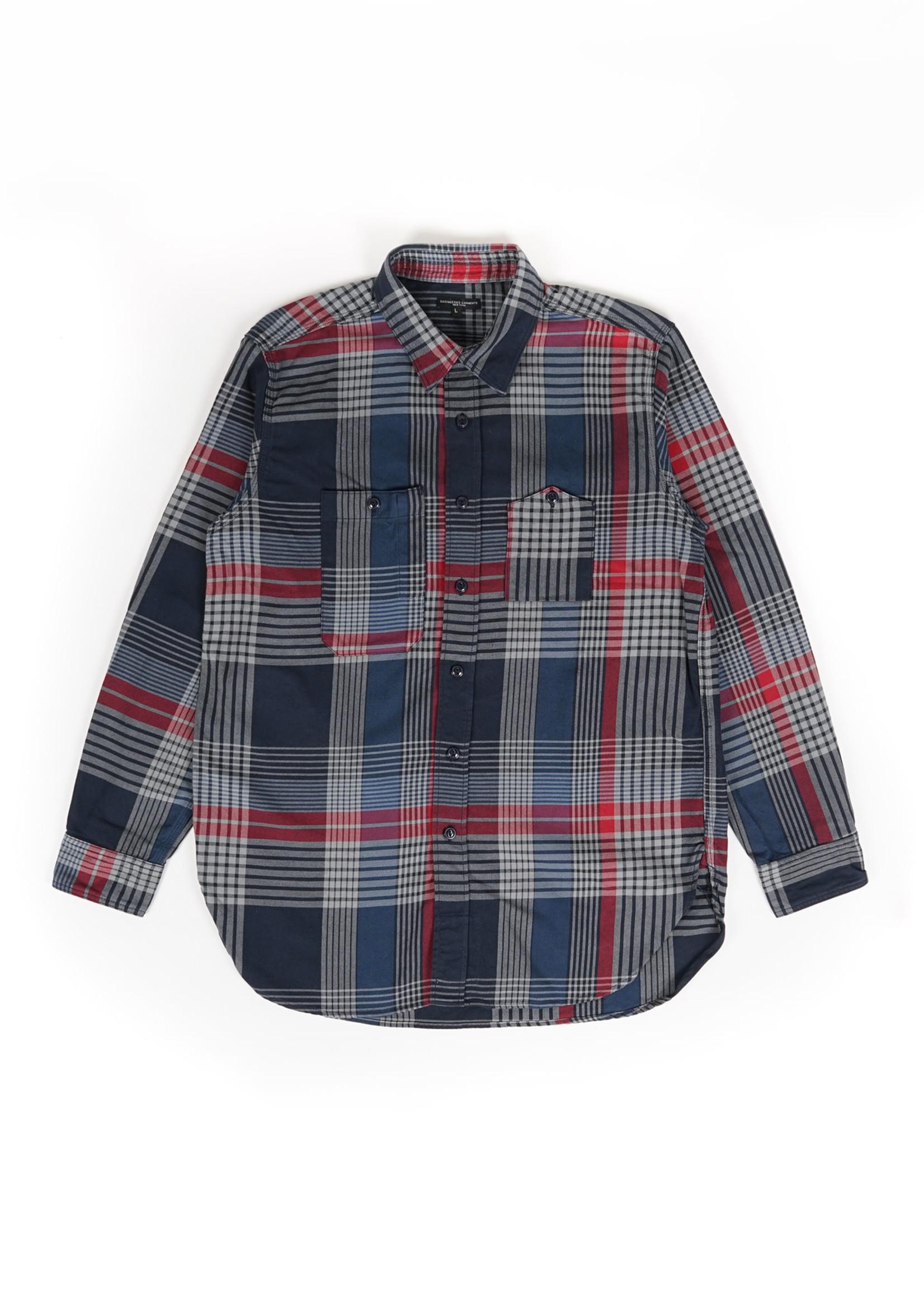 Engineered Garments Work Shirt Navy/Grey/Red Cotton Twill by Engineered Garments