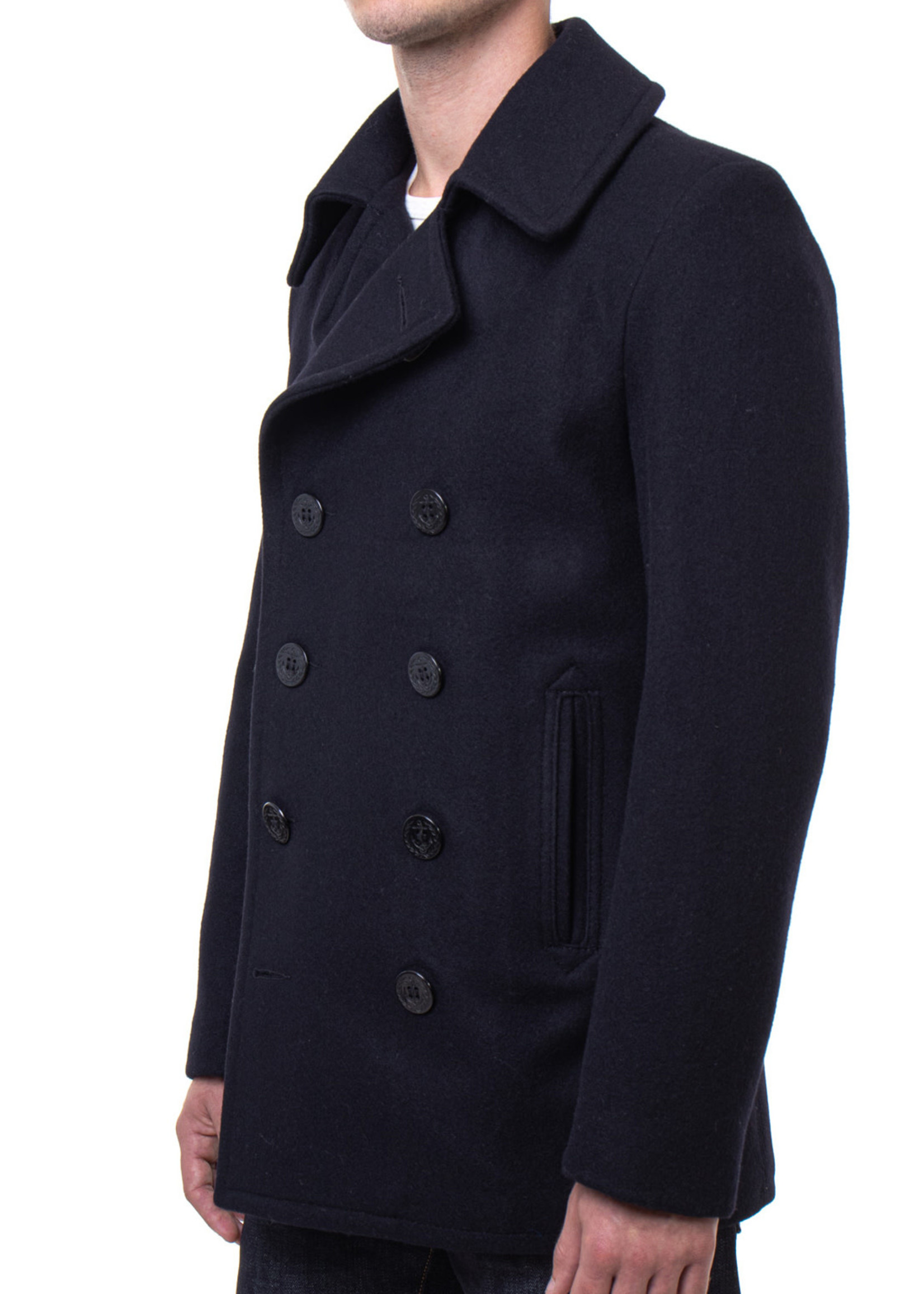 Navy Melton Wool Peacoat by Schott