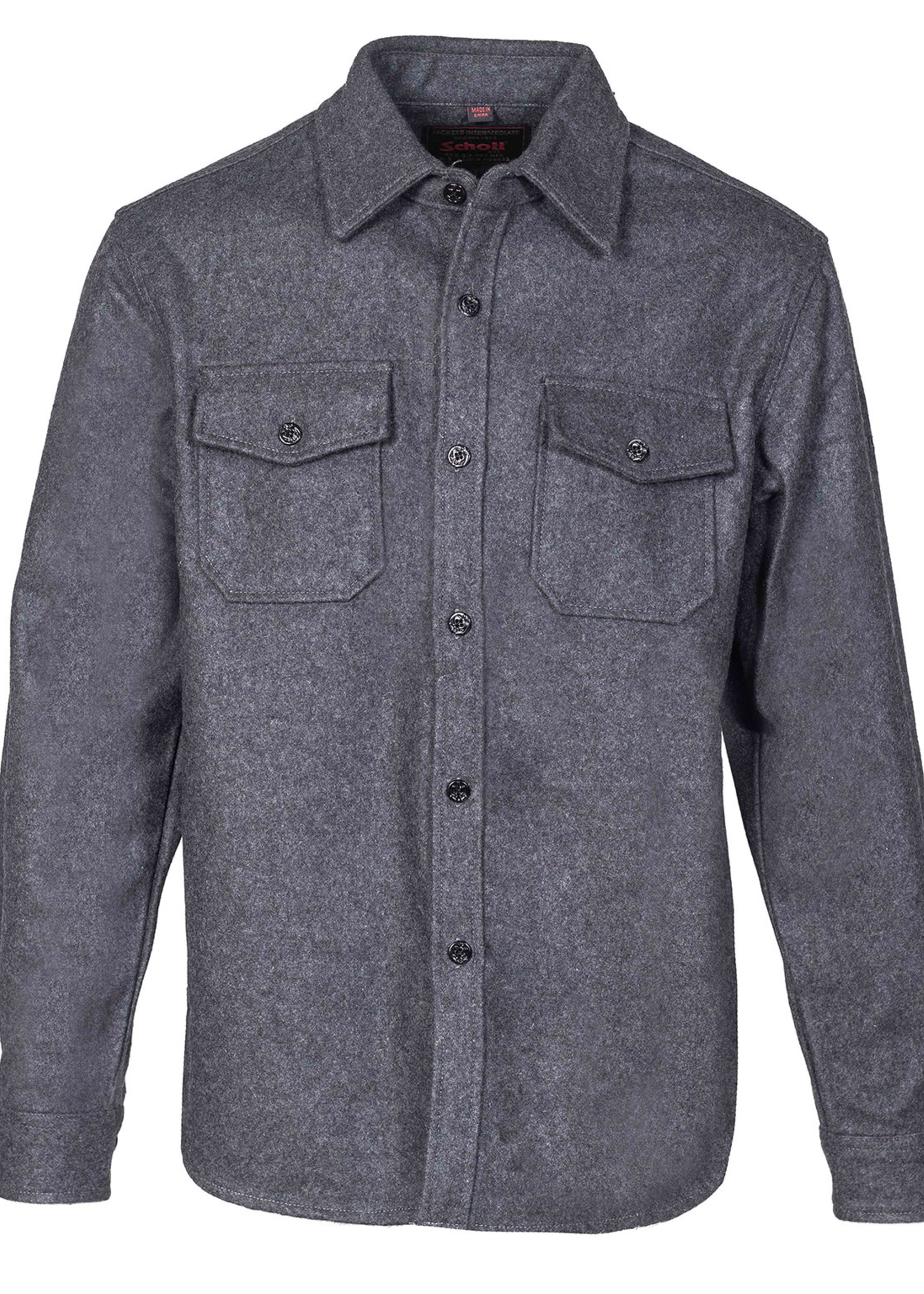 CPO Overshirt Grey Wool Flannel by Schott