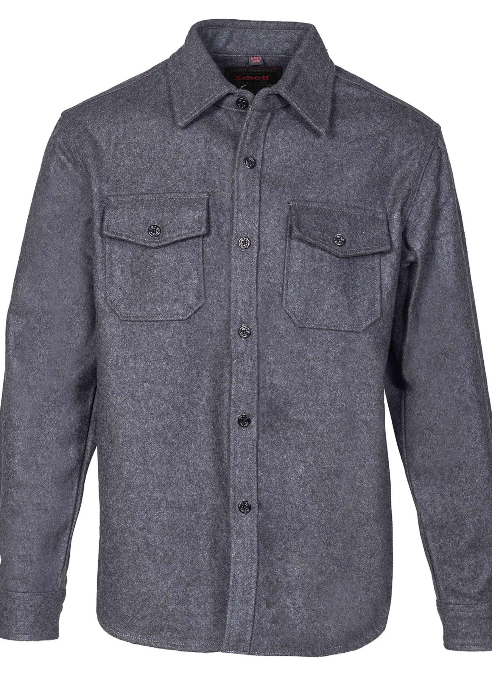 Schott CPO Overshirt Grey Wool Flannel