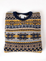 Harley Navy Fair Isle Wool Crew Neck by Harley