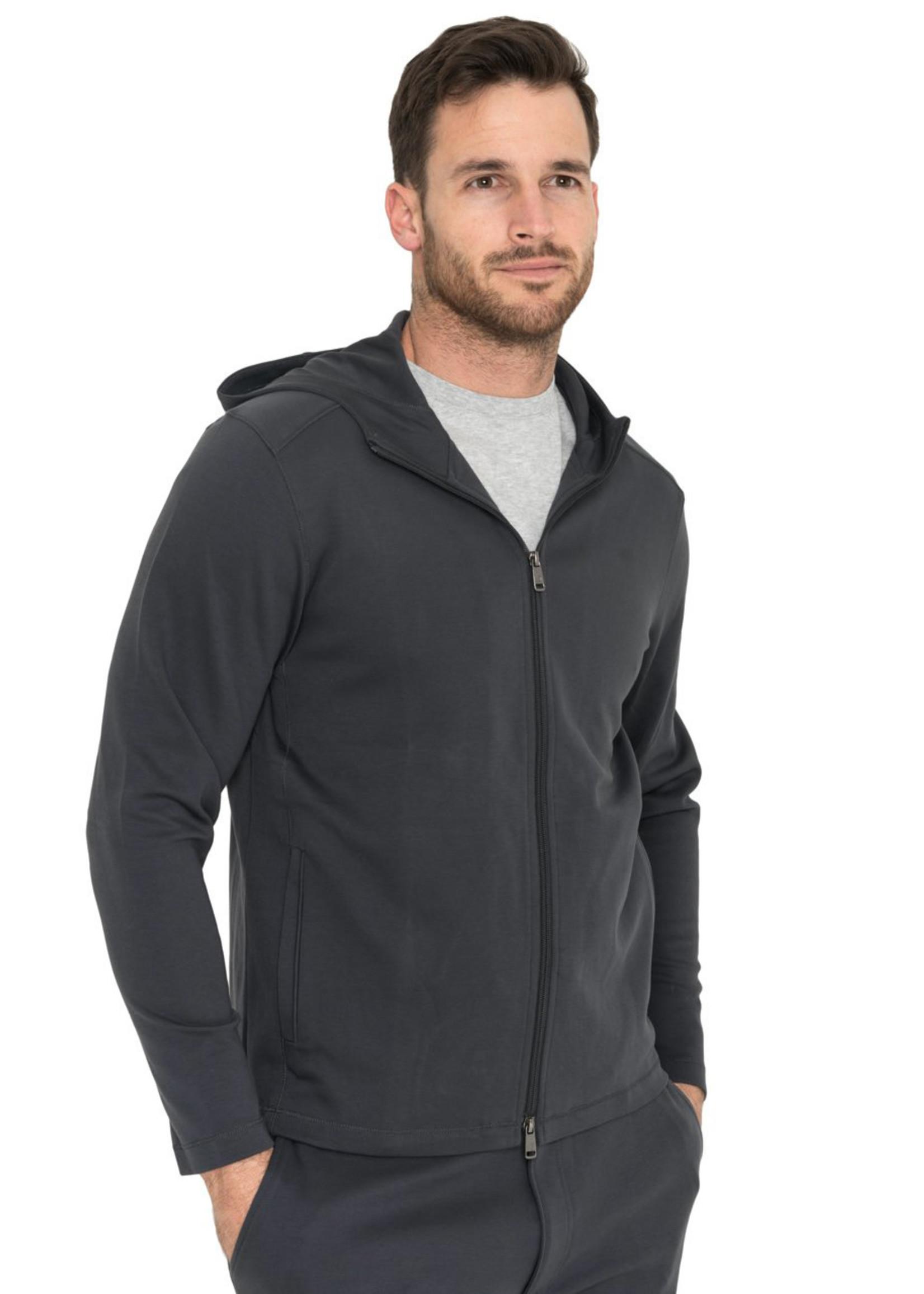 Raffi Zip Hoodie Jacket Charcoal Aqua Cotton by Raffi