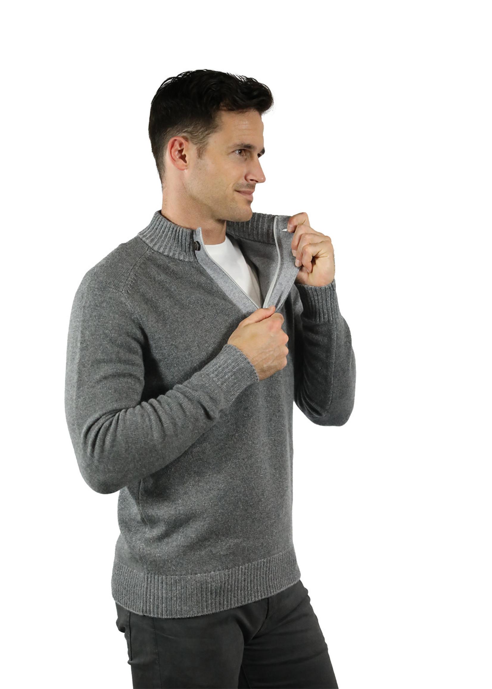 Raffi Grey Wool/Cashmere Venice Button Mock by Raffi