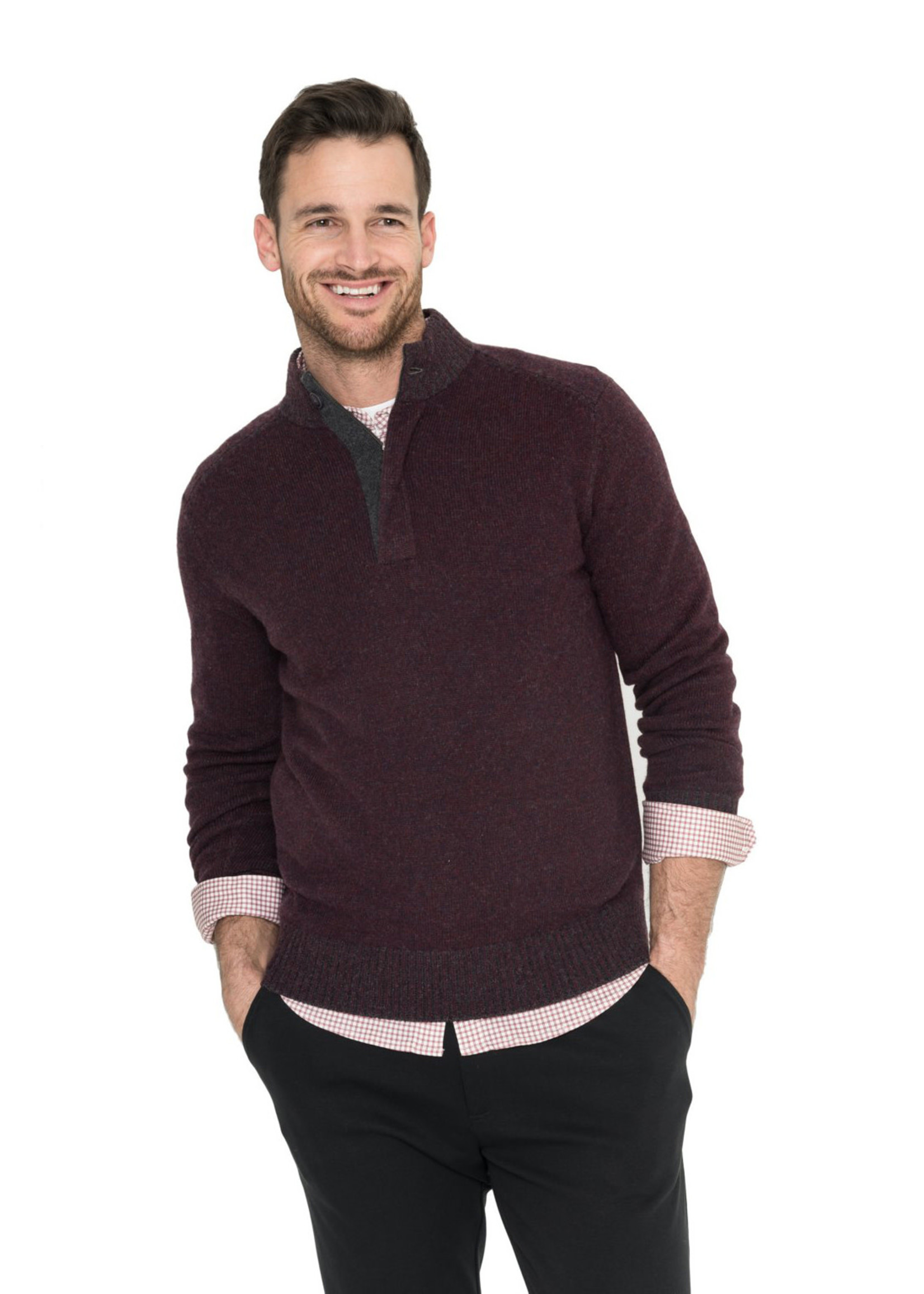 Raffi Cranberry Wool/Cashmere Venice Button Mock by Raffi