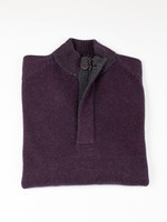 Raffi Cranberry Wool/Cashmere Venice Button Mock by Raffi