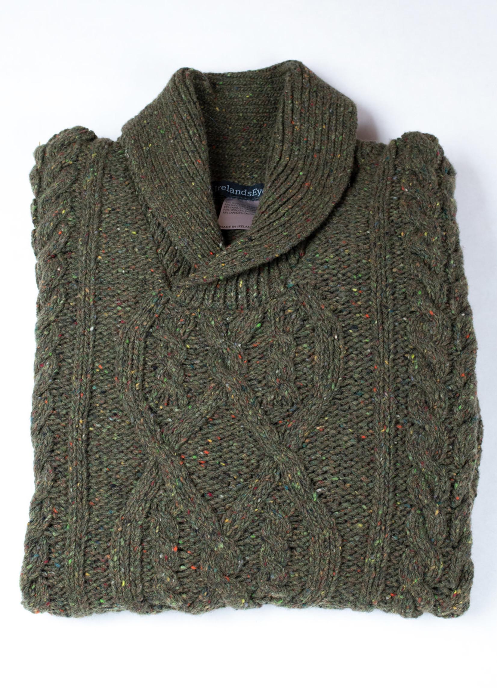 Ireland's Eye Clonard Loden Shawl Collar Cable Sweater by Ireland's Eye