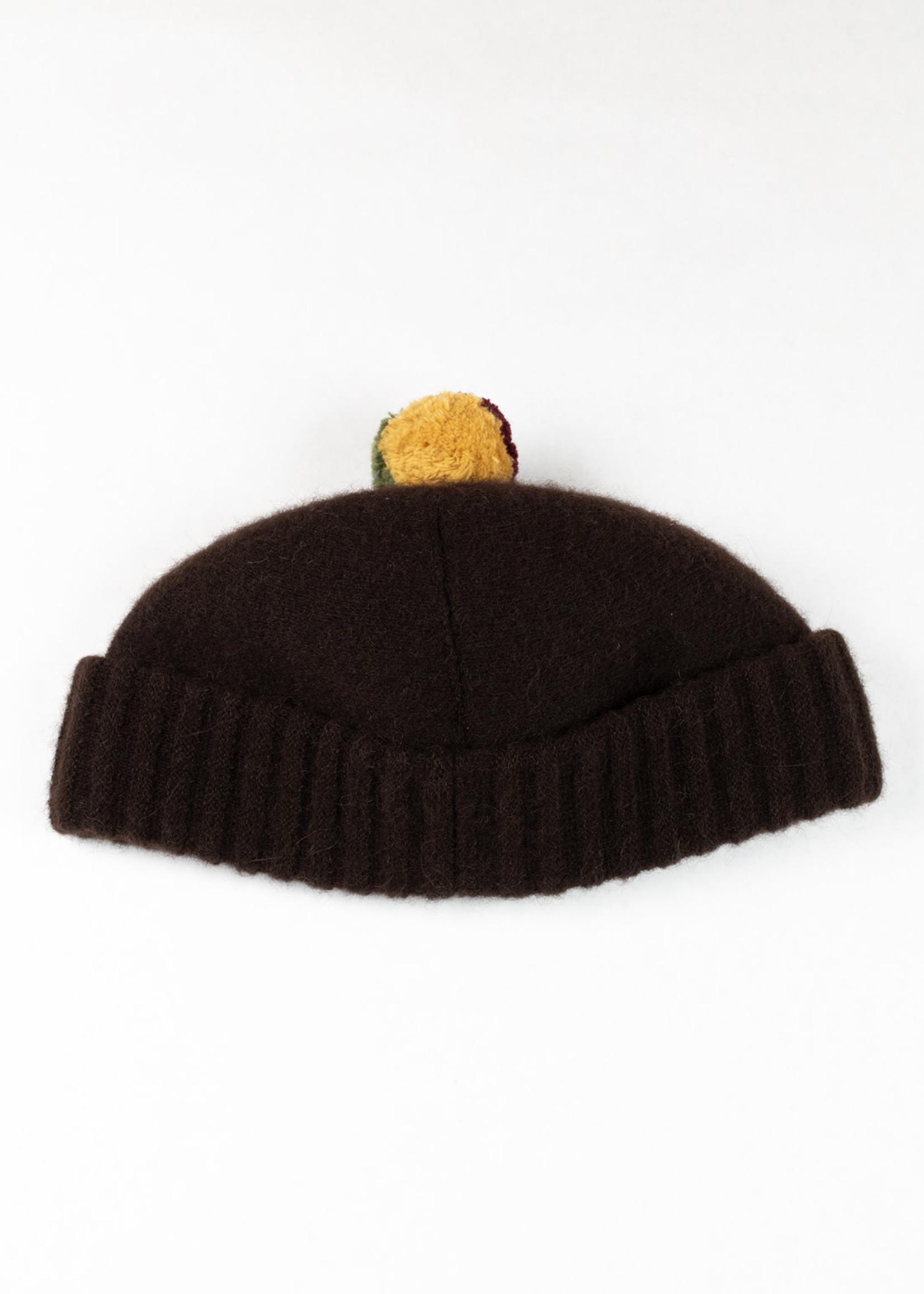 Cableami Kokeshi Alpaca/Wool Knit Bobble Cap Brown/Rasta b