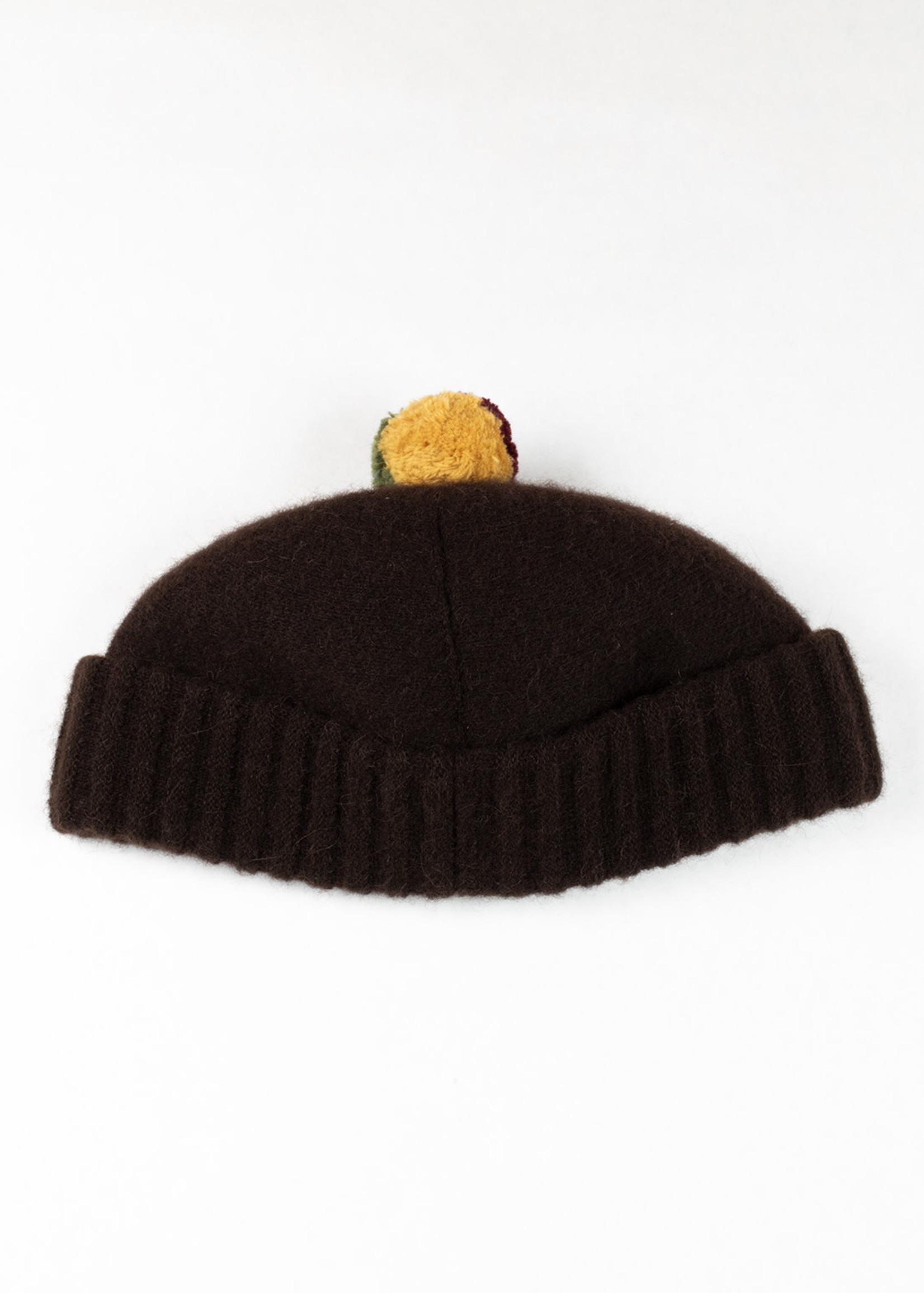 Kokeshi Alpaca/Wool Knit Bobble Cap Brown/Rasta by Cableami