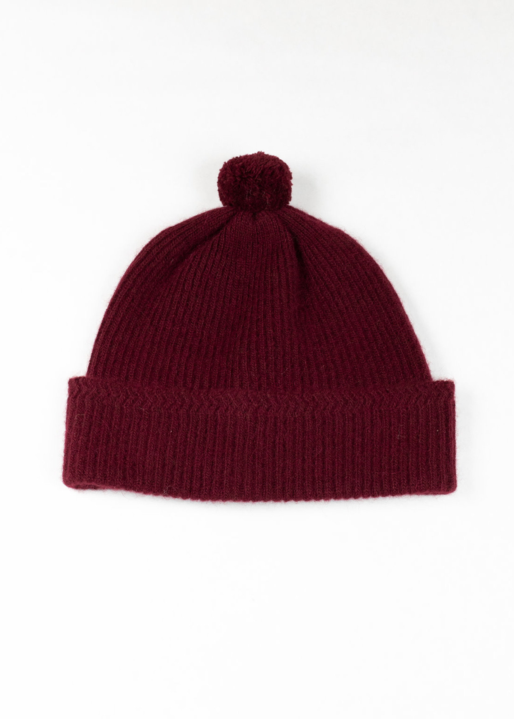 Alpaca/Wool Knit Bobble Cap Burgundy by Cableami