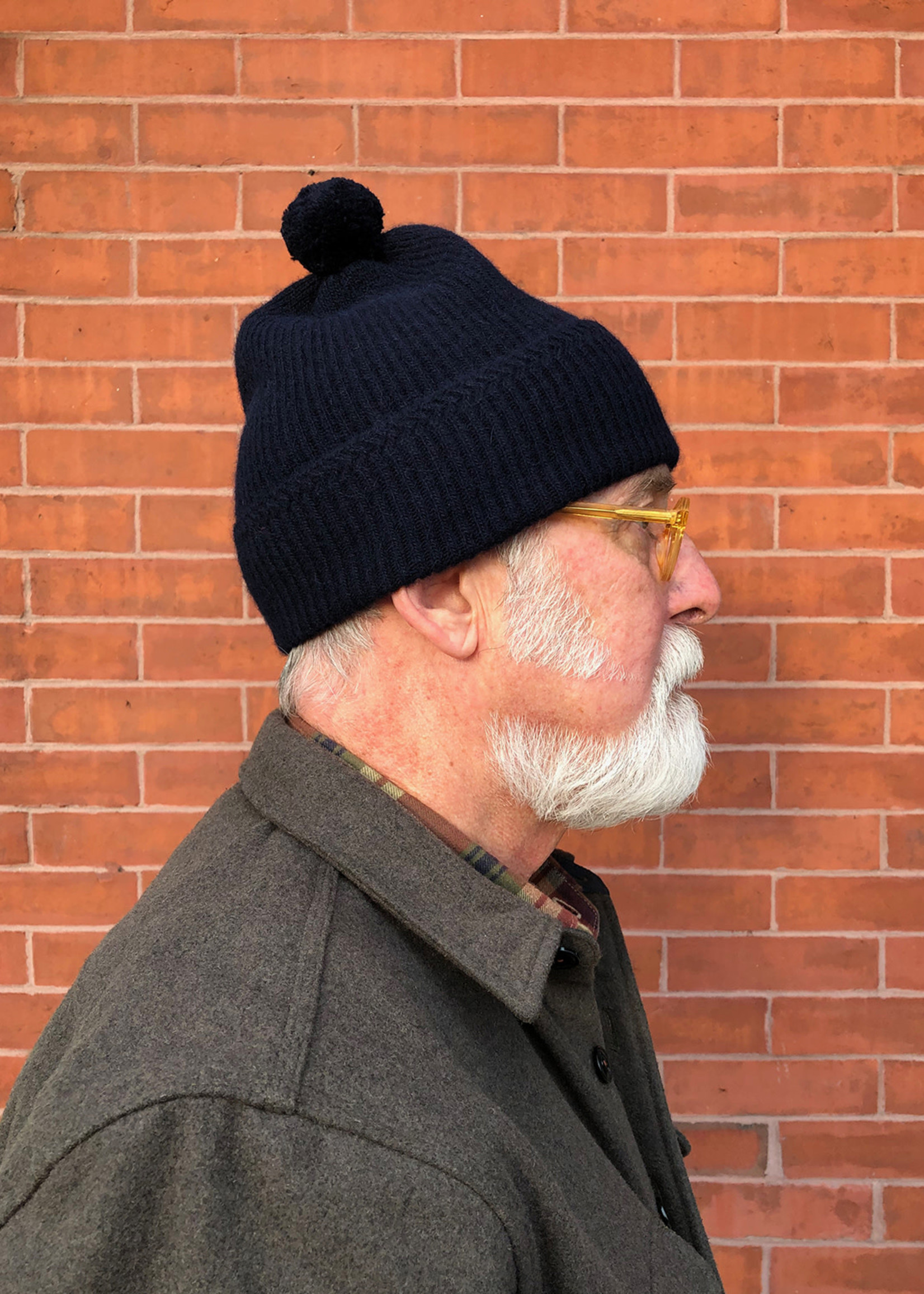 Alpaca/Wool Knit Bobble Cap Navy by Cableami