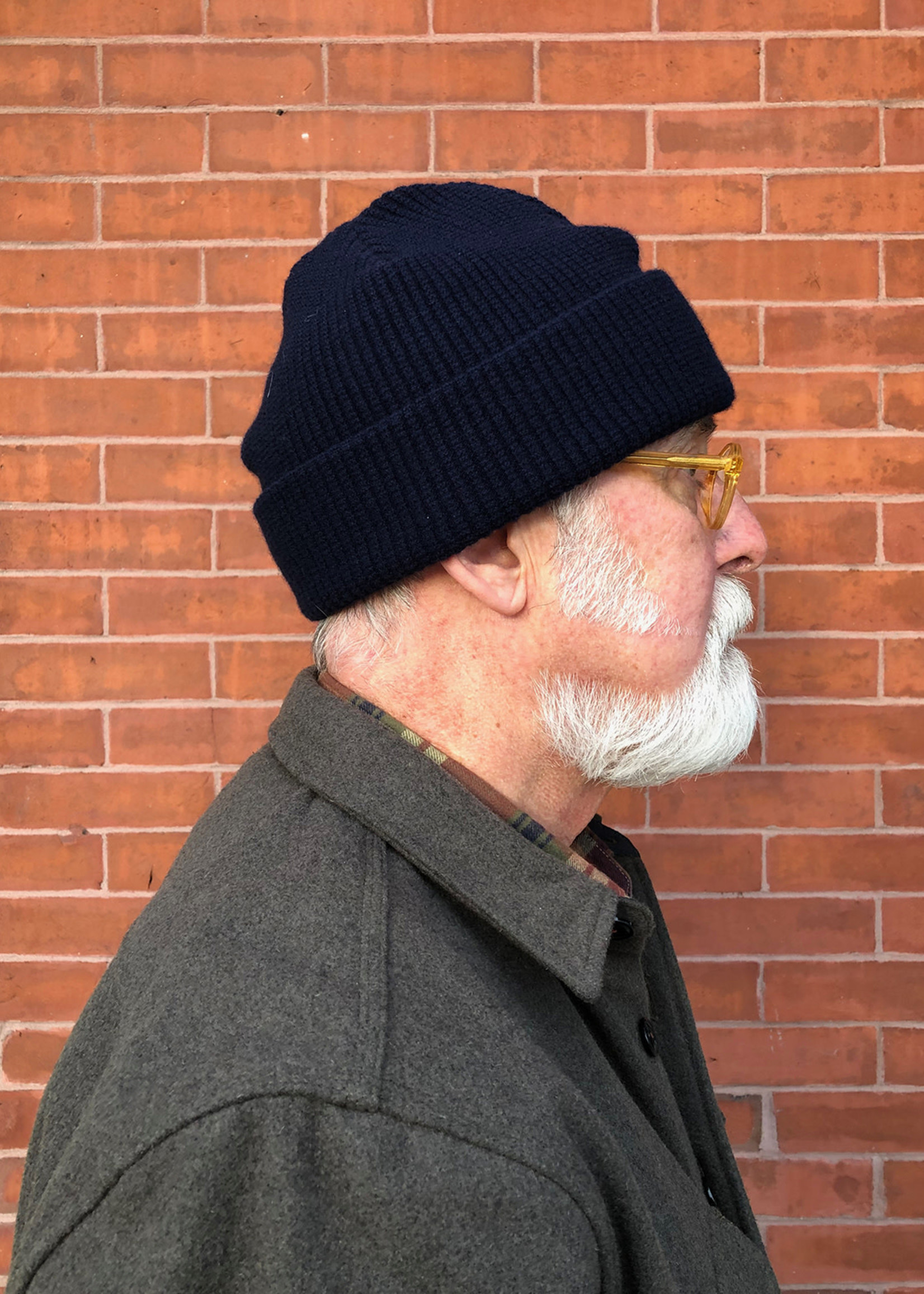 Cableami Wool/Cashmere Waffle Cap  Navy