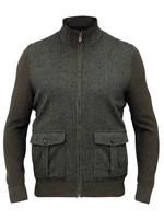 Alan Paine Thursford Loden Merino/Tweed Zip Mock Sweater by Alan Paine