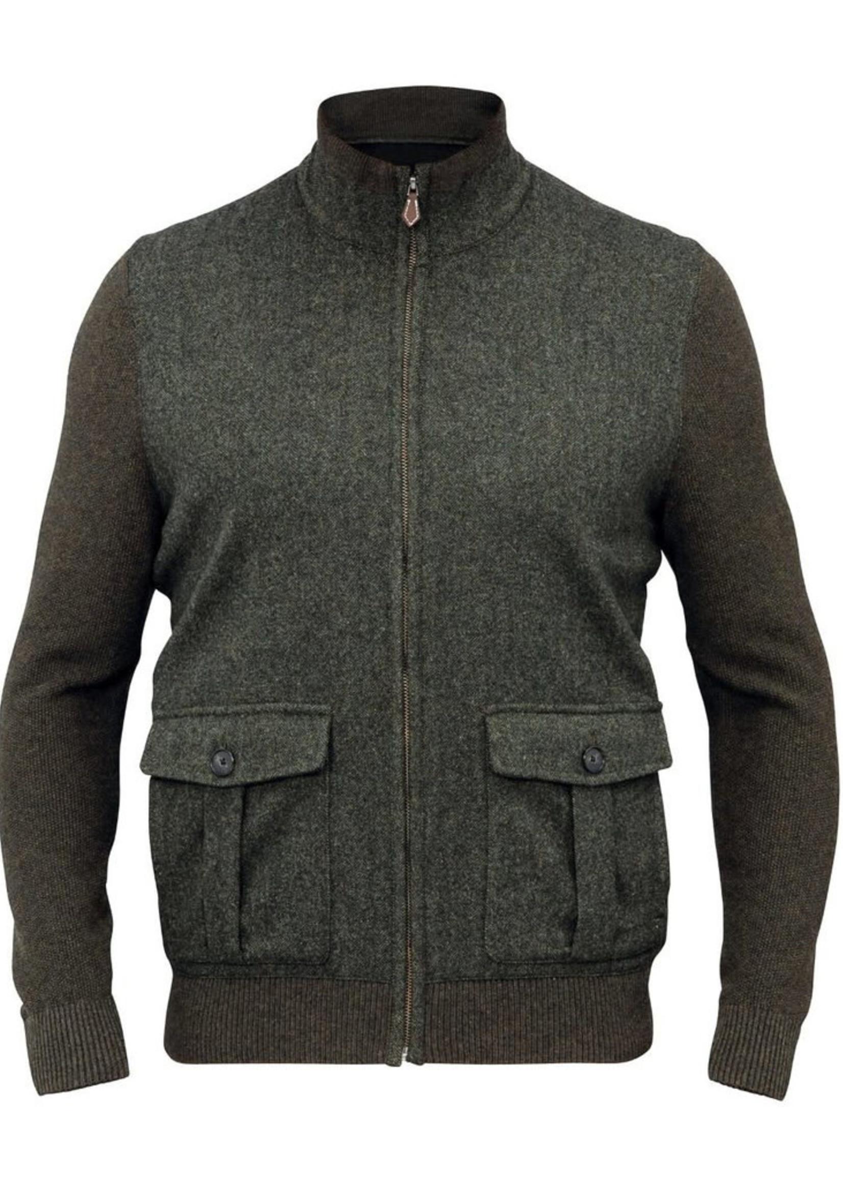 Alan Paine Thursford Loden Merino/Tweed Zip Mock Sweater  by Alan Paine