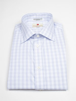 Navy/Light Blue Tattersall Spread Collar by Drinkwater's