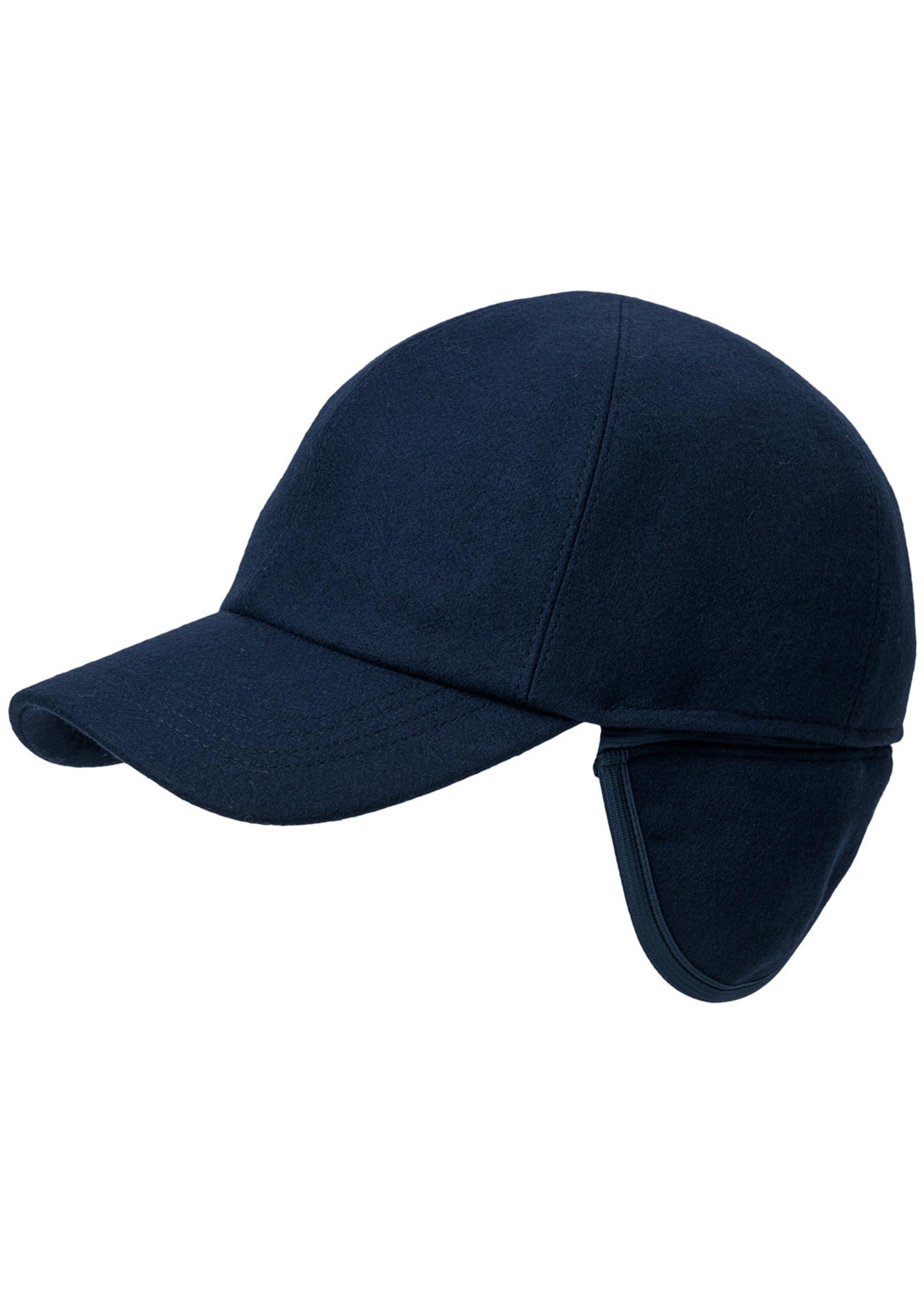 Wigens Kent Melton Wool Baseball Cap Navy