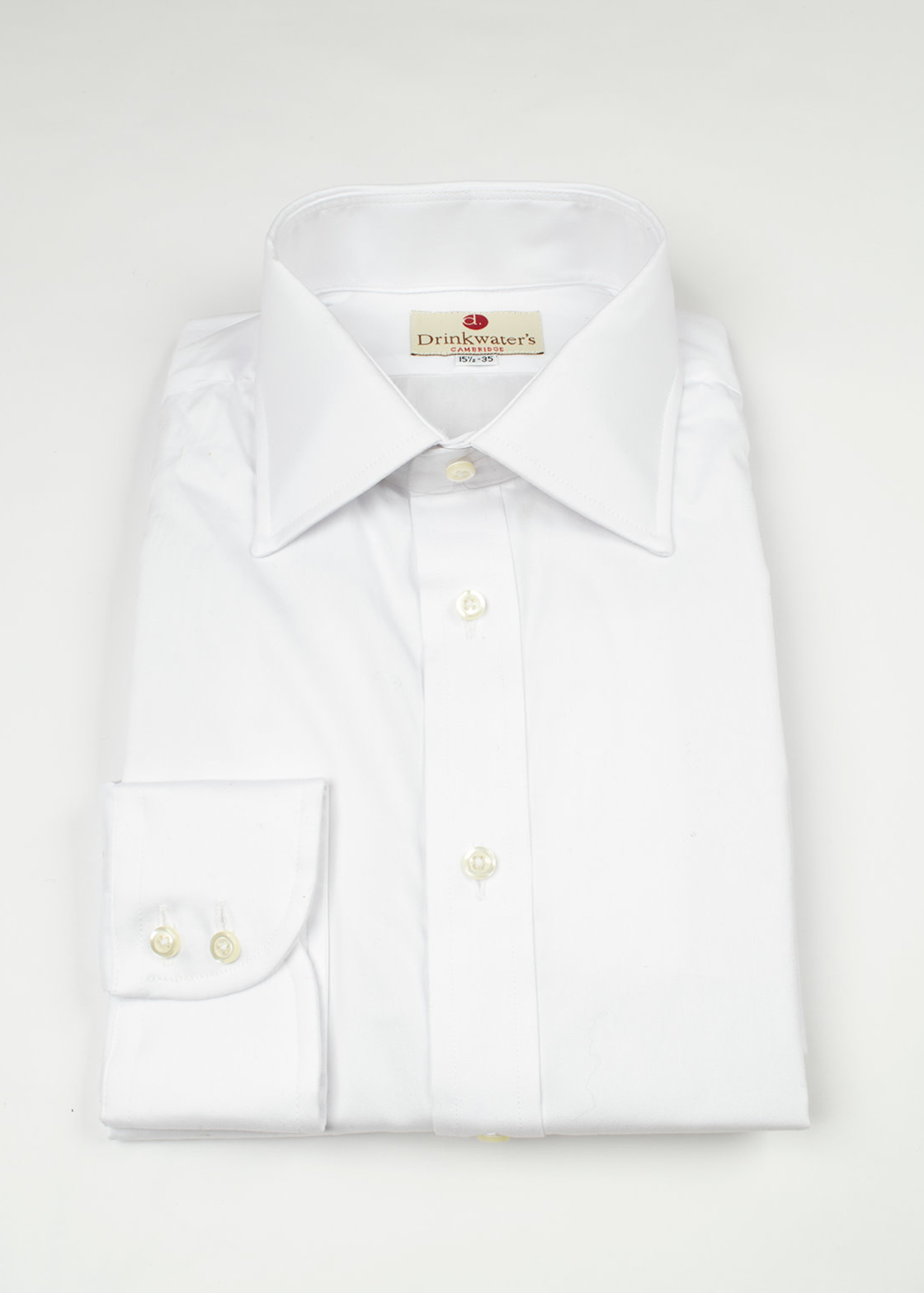 White Pinpoint Oxford Spread Collar by  Drinkwater's
