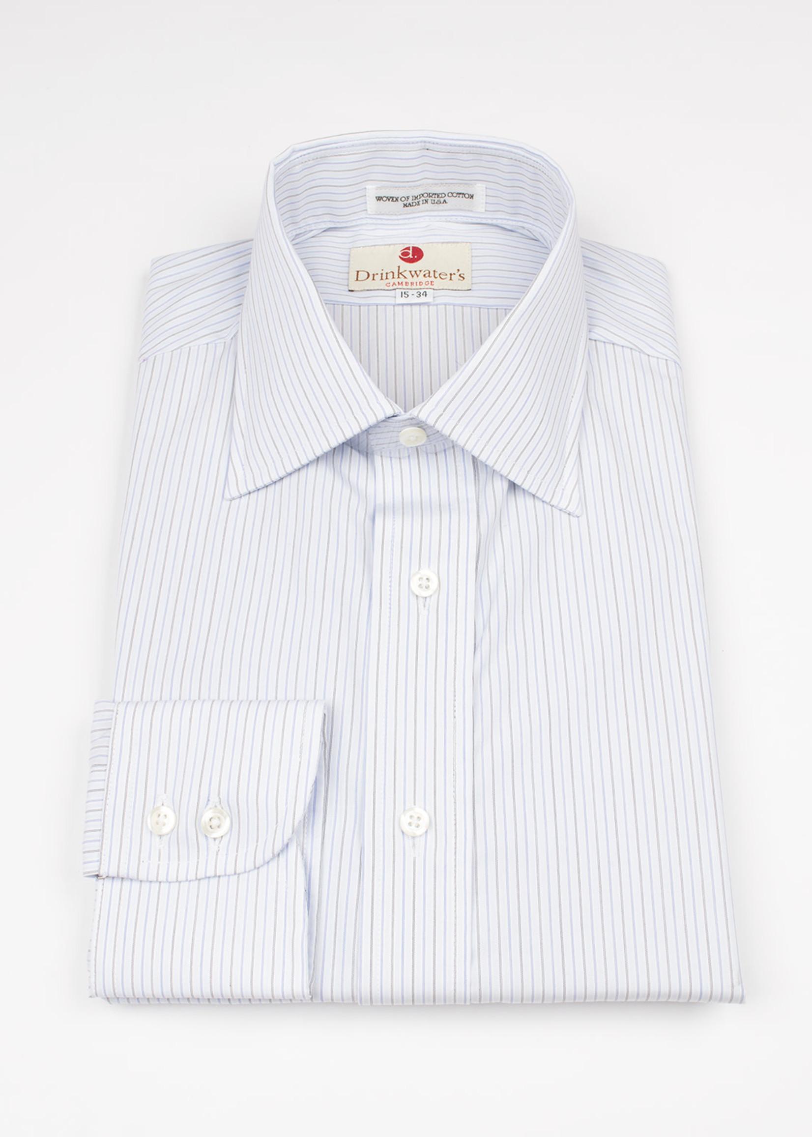 Drinkwater's  Blue w/ Blue/Olive Antique Stripe Spread Collar
