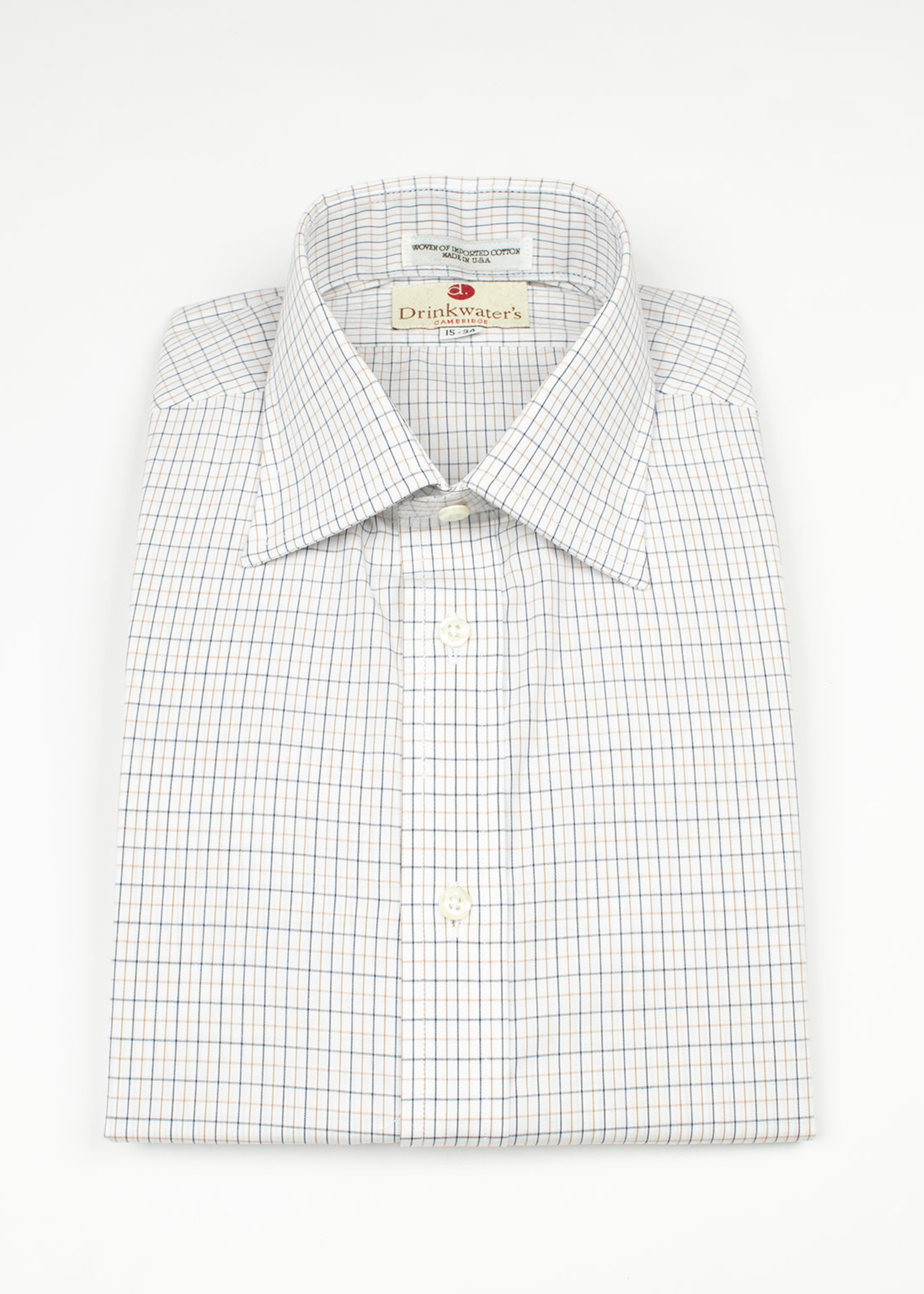 Blue & Tan Tattersall Spread Collar by Drinkwater's