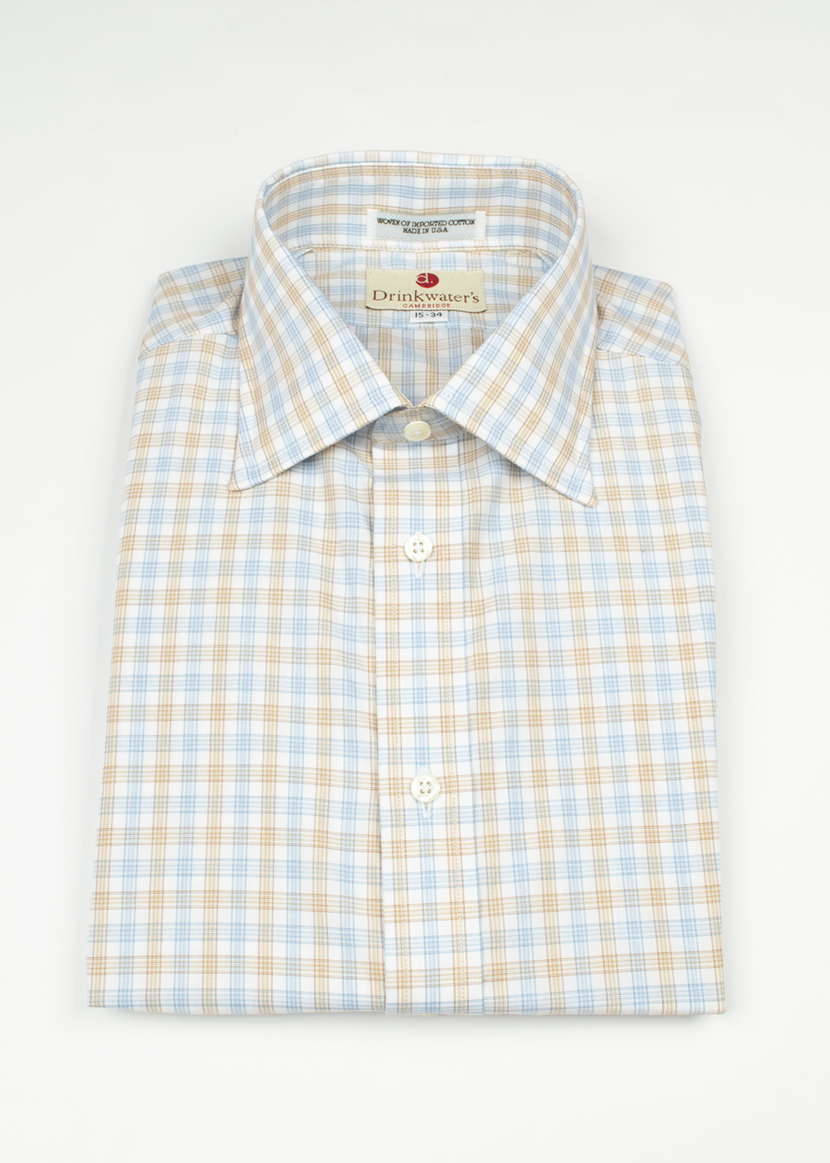 Blue/Tan Tattersall Spread Collar  by Drinkwater's