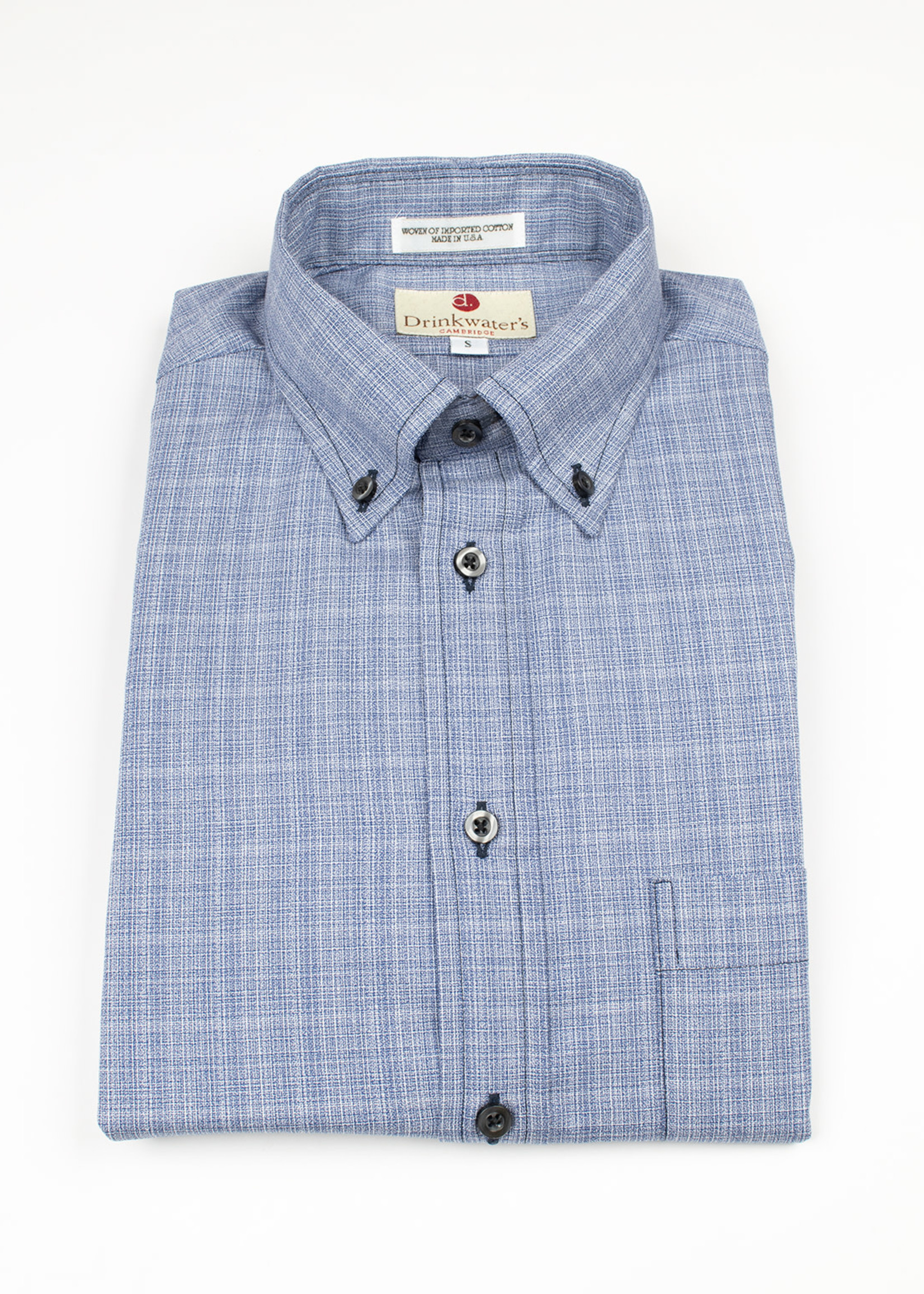 Navy Cotton Basketweave BD Sport Shirt by Drinkwater's
