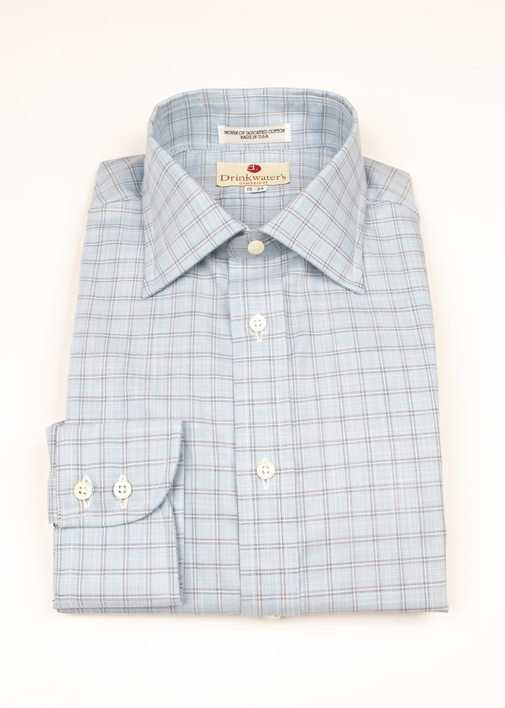 Blue Windowpane Spread Collar by Drinkwater's