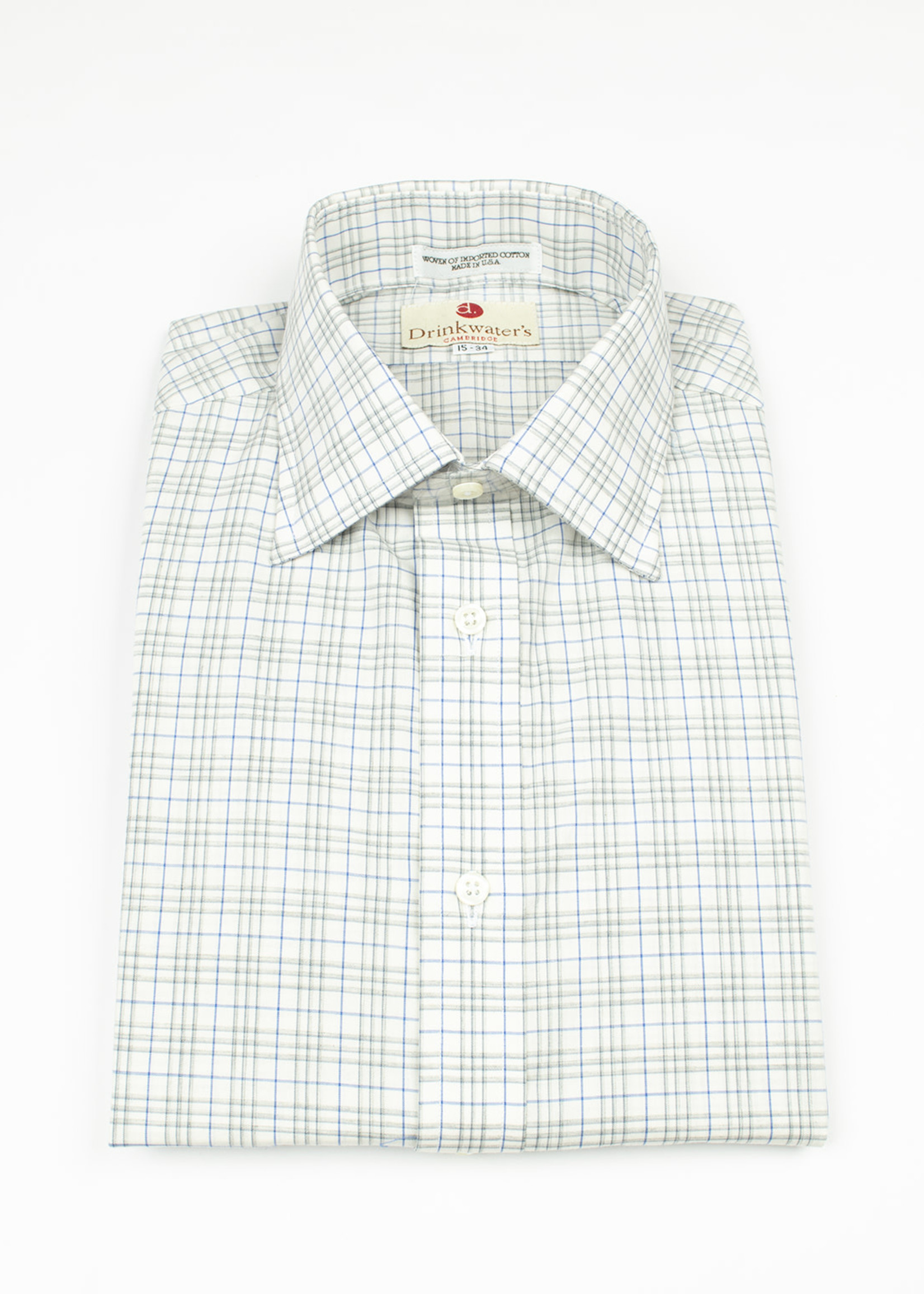 Taupe & Blue Tattersall Spread Collar by Drinkwater's