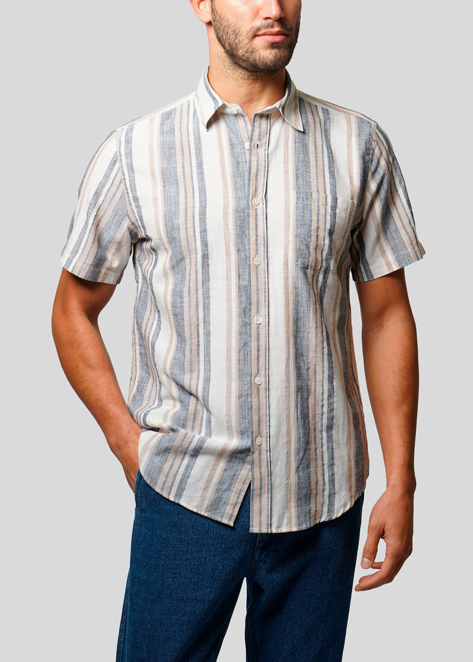 Portuguese Flannel Portuguese Flannel Boa Regatta Stripe S/S Camp Collar Shirt