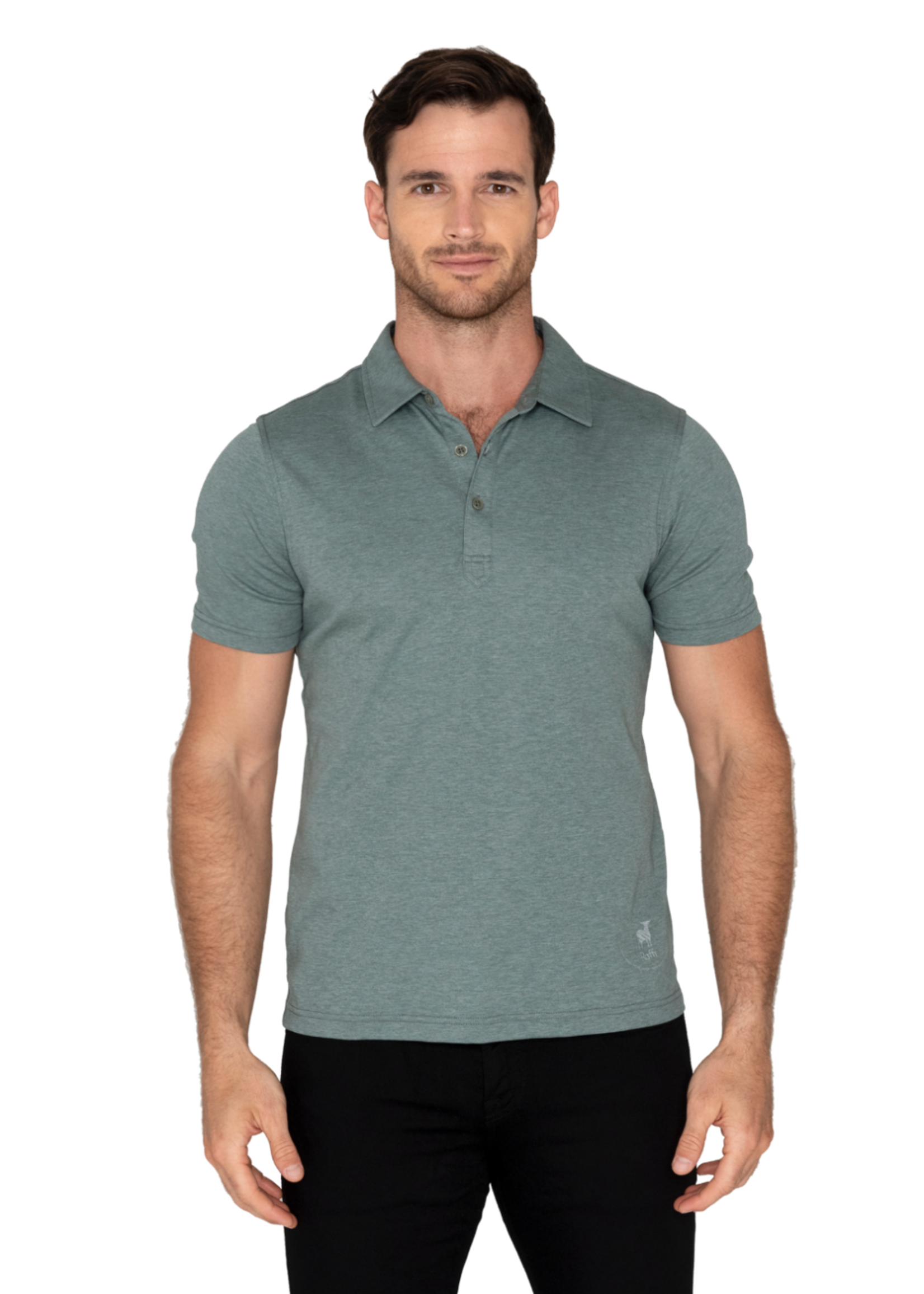 Raffi Raffi Aqua Cotton Short Sleeve Polo Sage