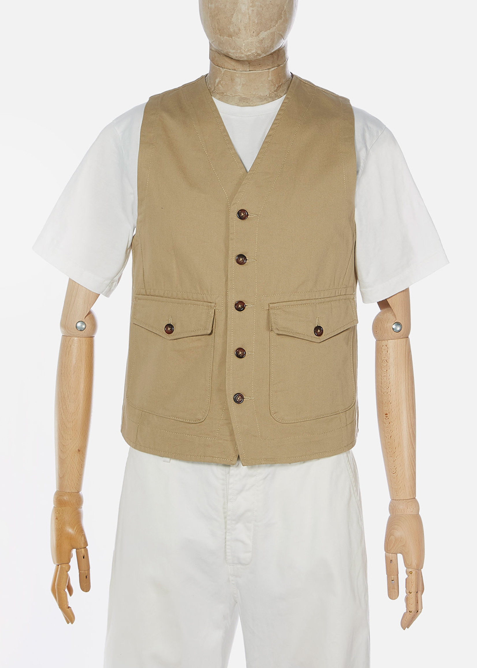 Universal Works Universal Works Field Waistcoat Tan Cotton Twill
