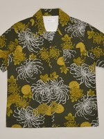 Universal Works Universal Works Open Collar Shirt Olive Japanese Flower II