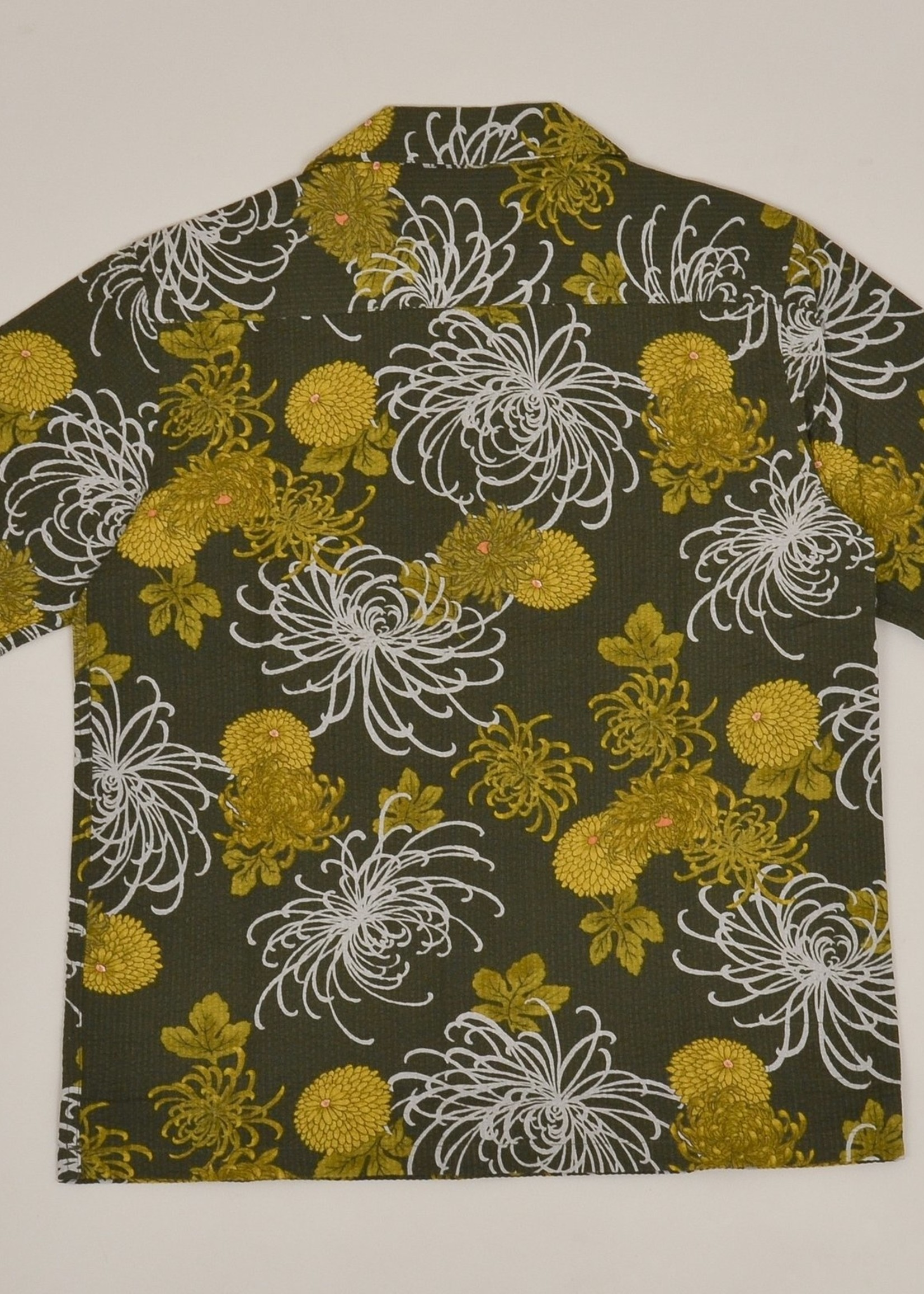 Universal Works Universal Works Open Collar Shirt Olive Japanese Flower II