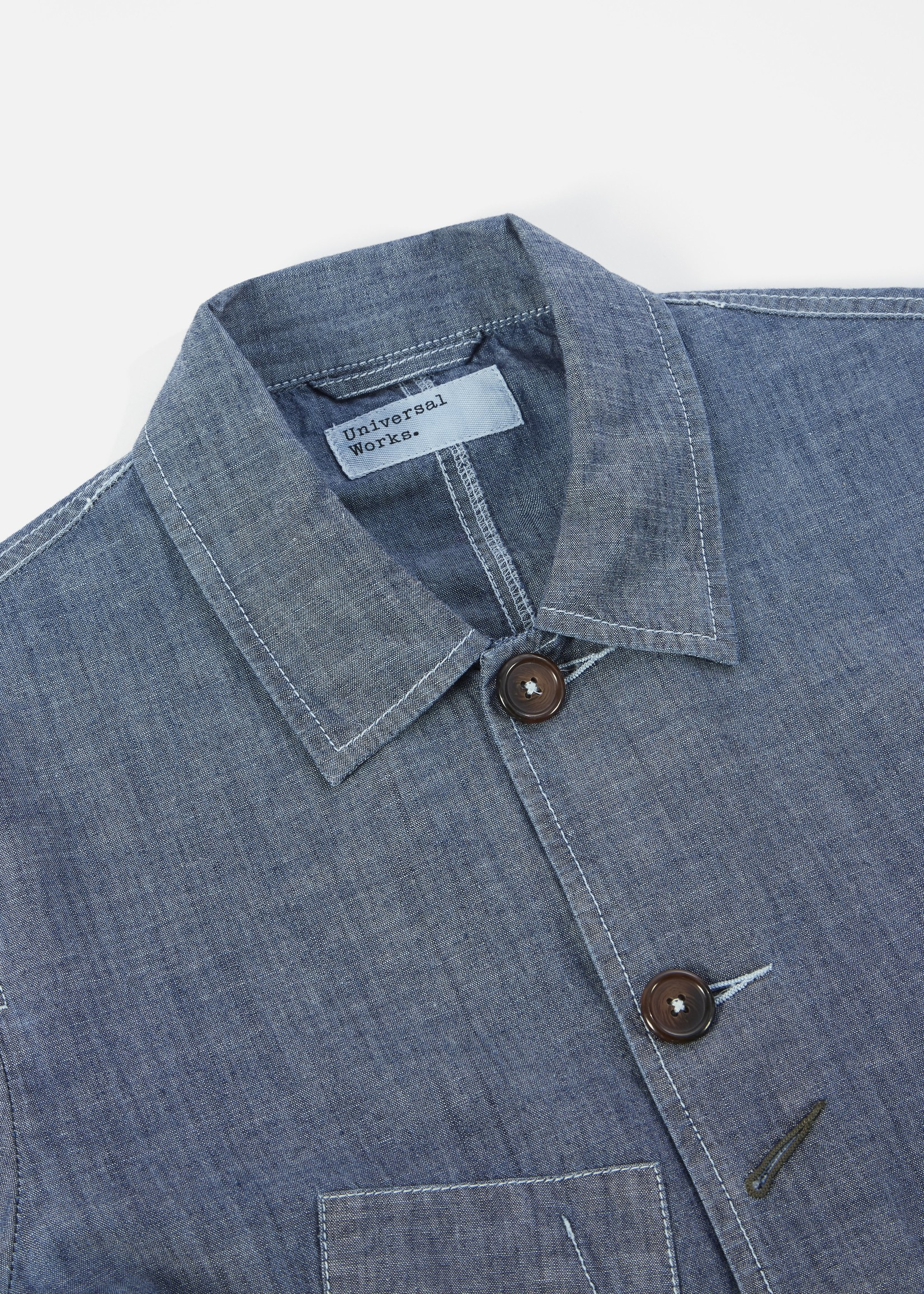 Universal Works Universal Works Bakers Jacket Indigo Patched Chambray